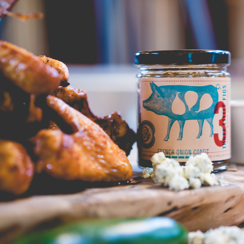Sriracha Fried Chicken Wings | French Onion + Blue Cheese Dressing