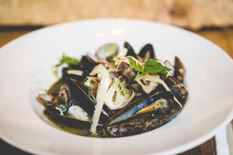 Chorizo + Squid Ink Risotto | Truffle Oil | Mussels + Clams | Grana Padano
