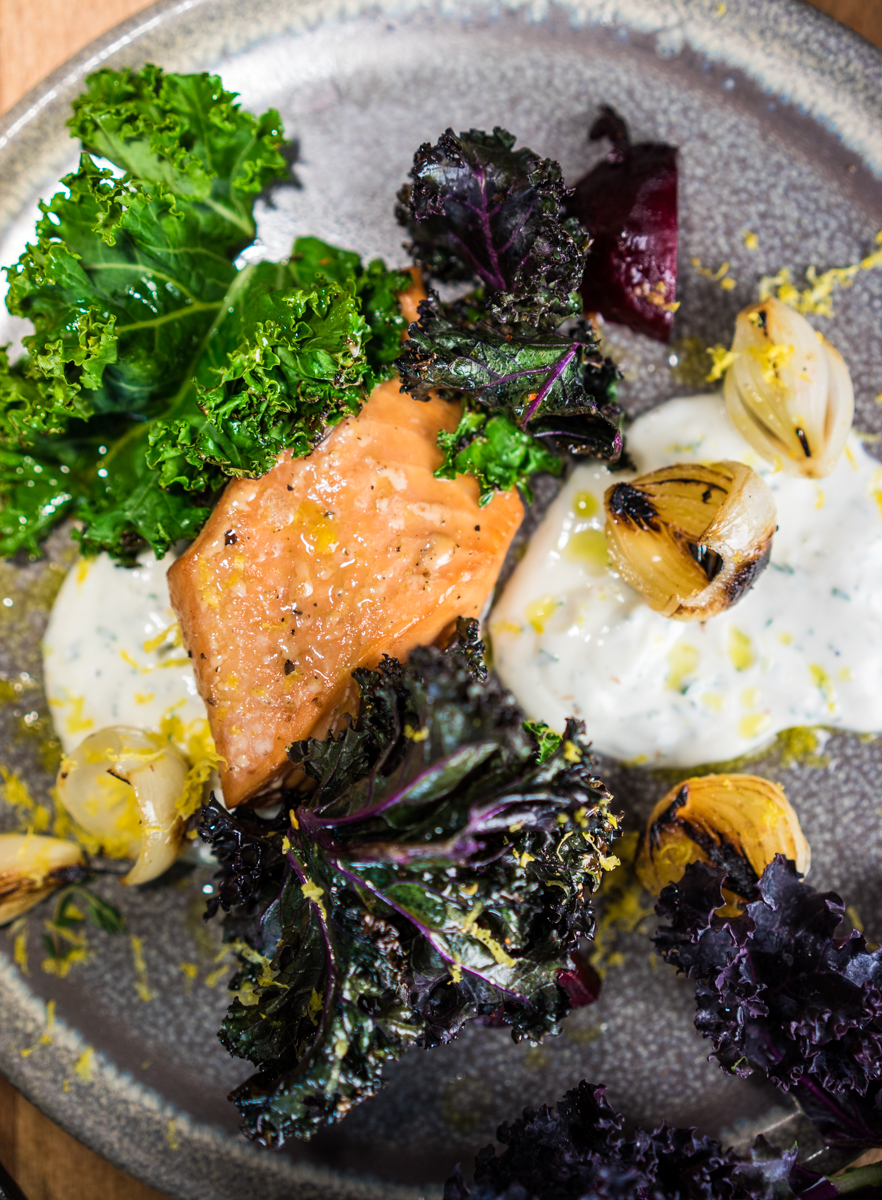 Smoked Salmon | Yogurt | Salt-Roasted Beets | Charred Kale