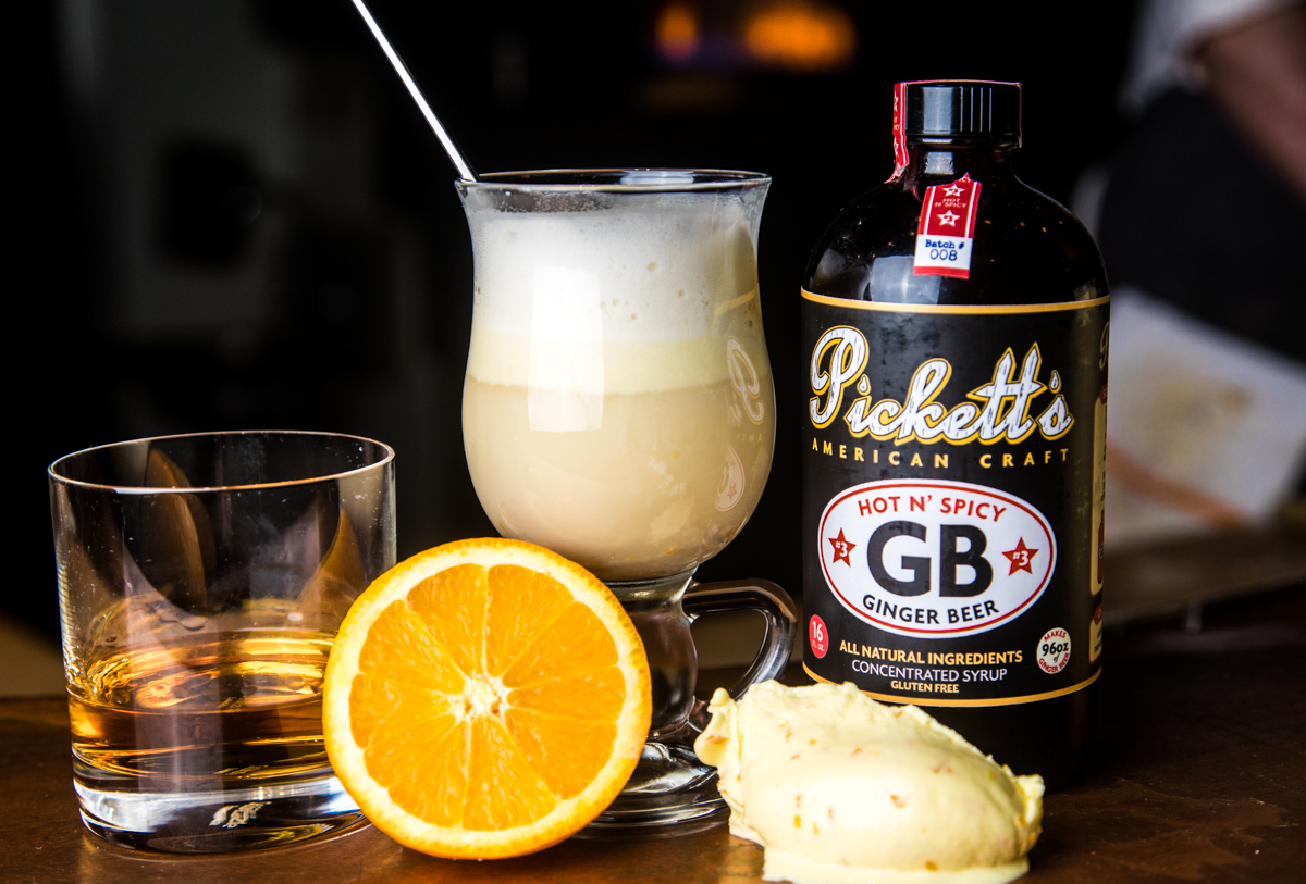 Orange Zest Ice Cream | Spicy Ginger Syrup | Whiskey