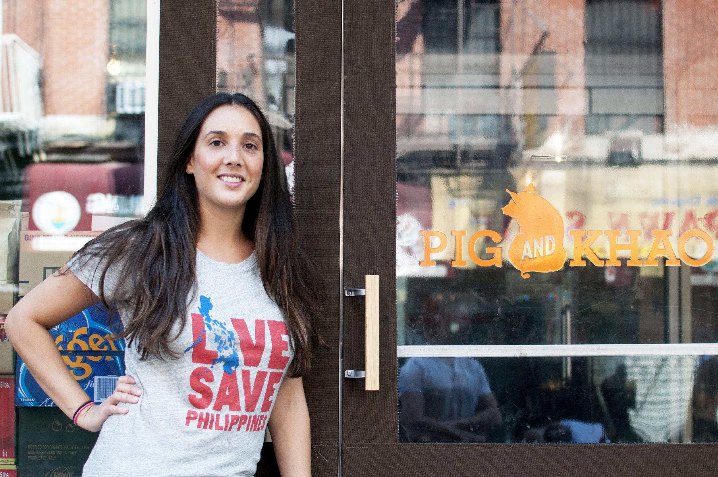 Chef Leah Cohen outside her New York restaurant, Pig & Khao