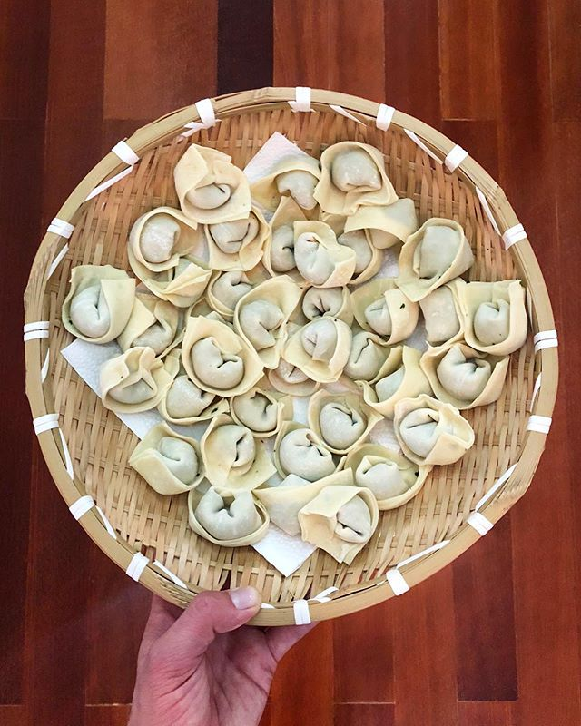 "Well on our way to becoming dumpling masters 🙌�🙌� Like the saying goes: ""When in Shanghai..."""