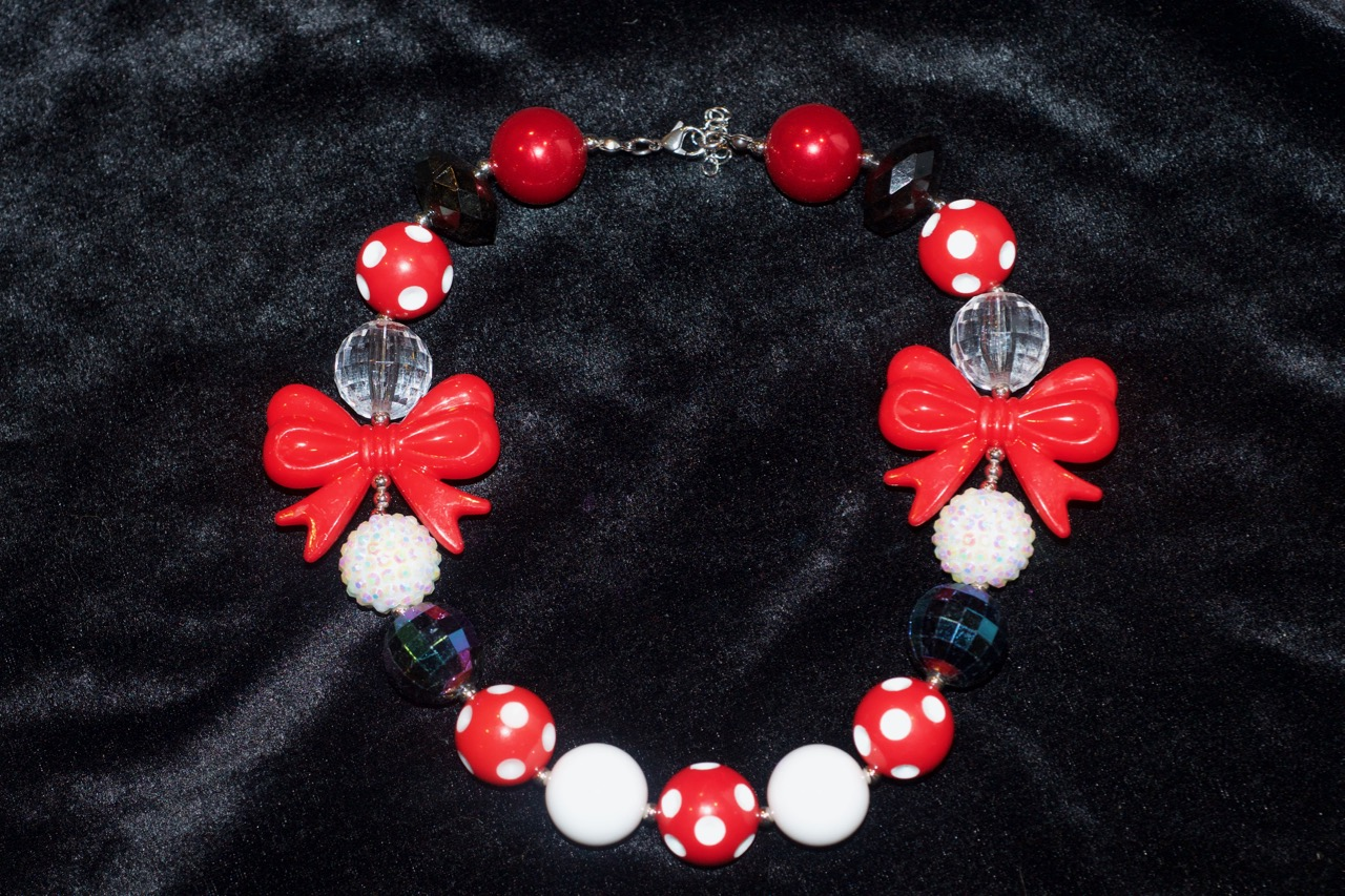 Red White & Bow Necklace