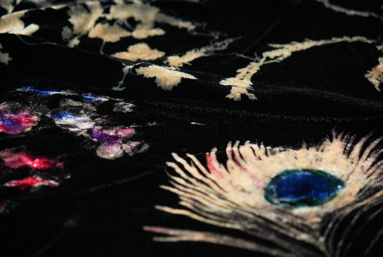 Peacock and hydrangeas on silk velvet
