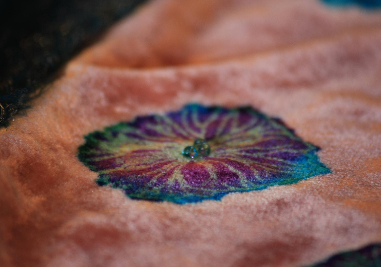Hydrangea head on silk velvet