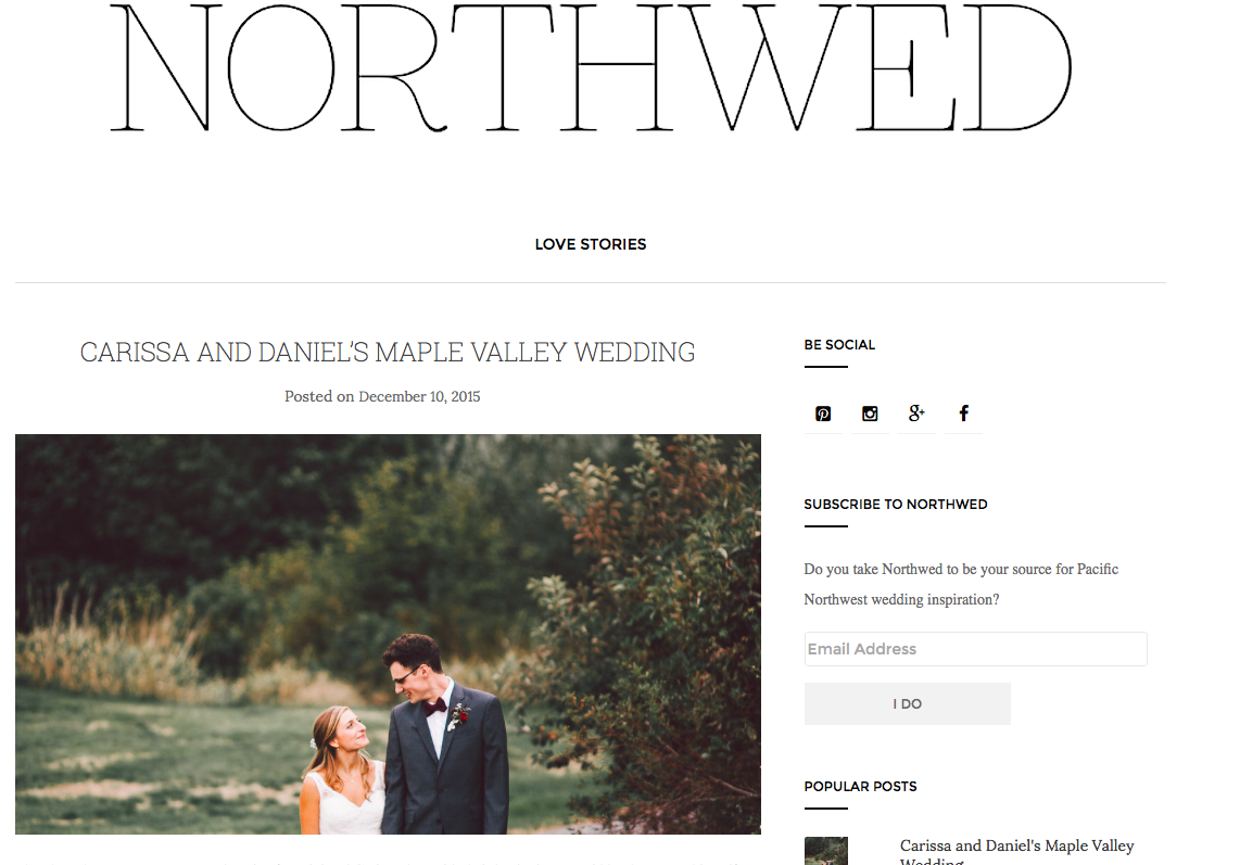 One of our September weddings was featured in Northwed Magazine. Photography by Olivia Strohm.