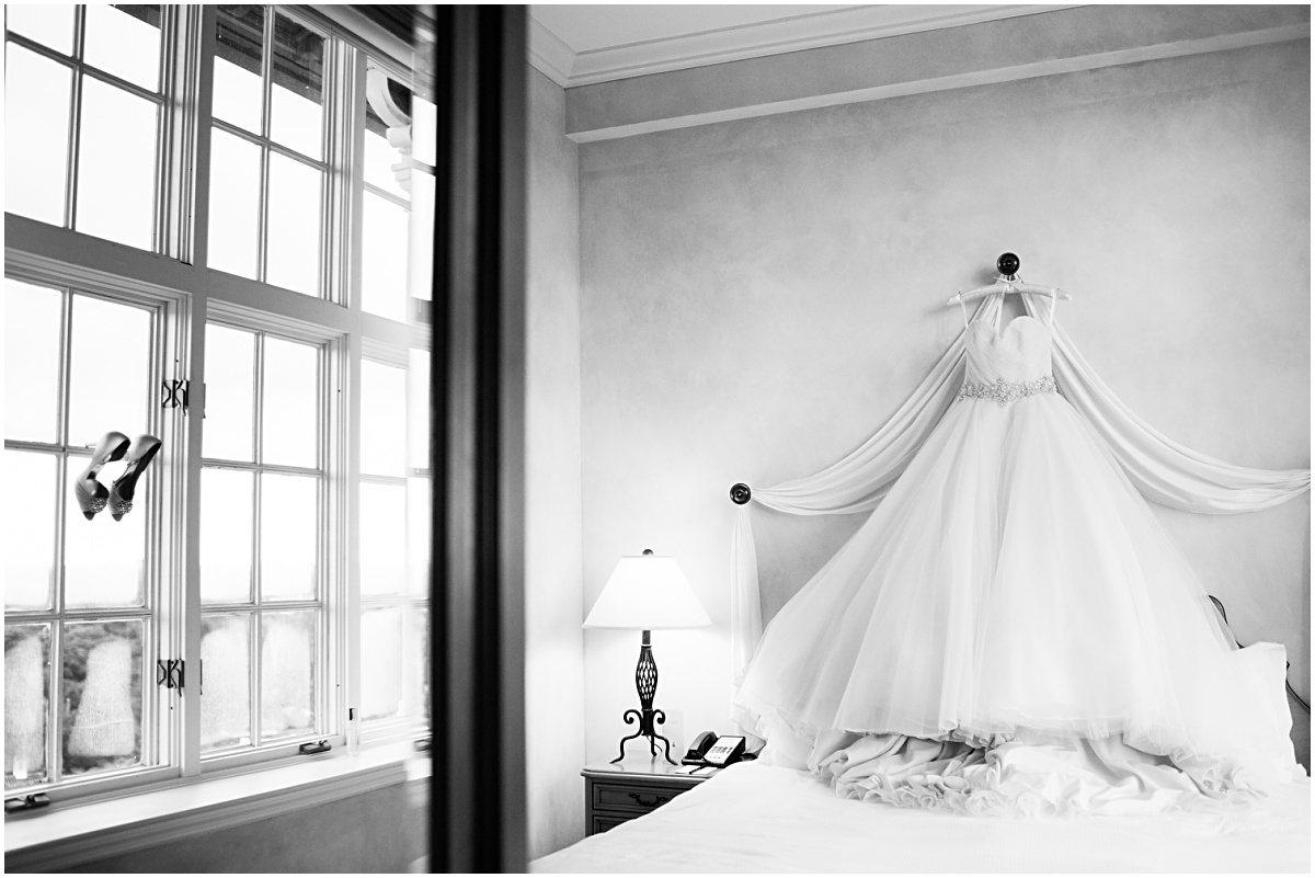 artistic black and white photograph of a wedding dress at the biltmore