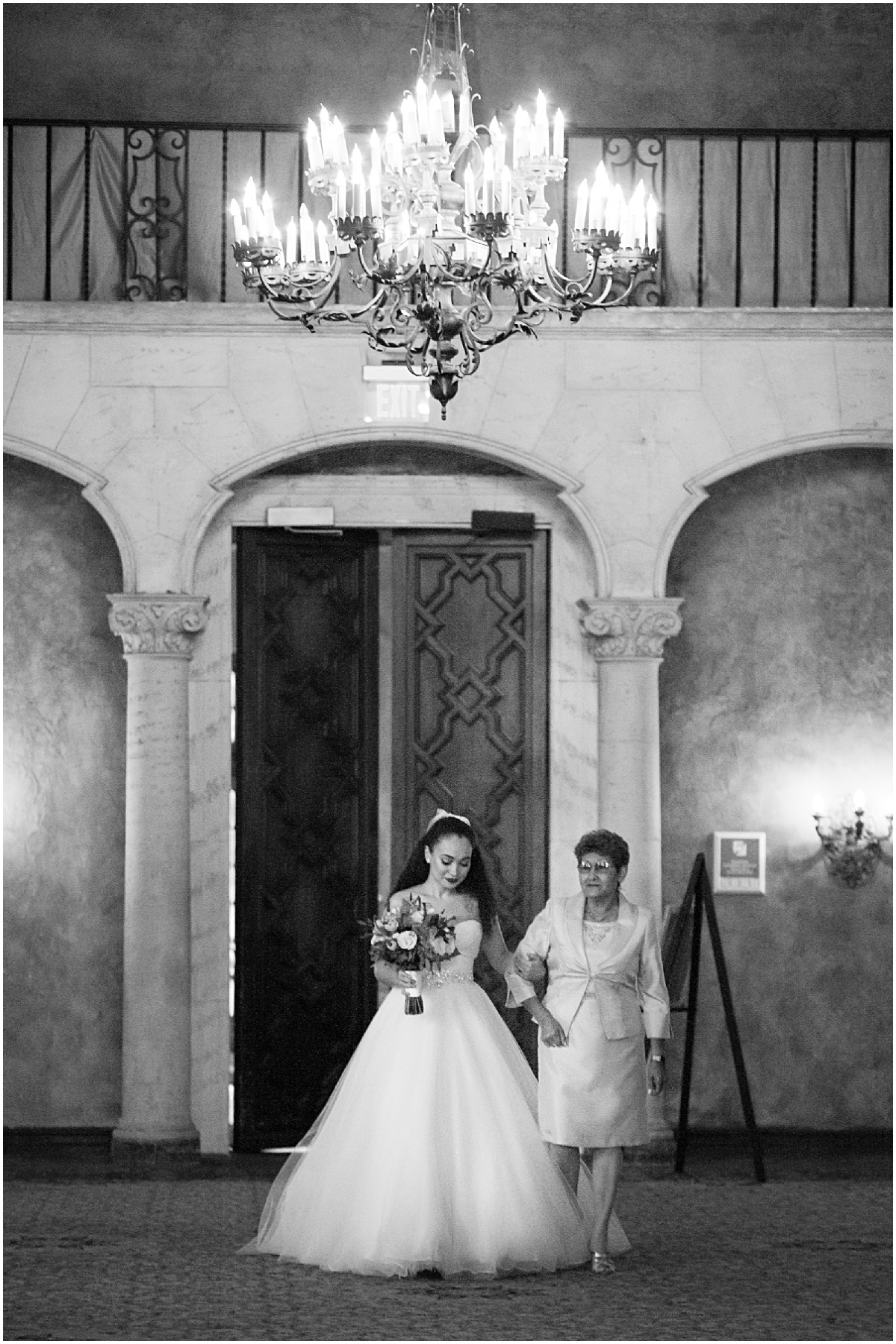 bride coming down the aisle at the biltmore hotel