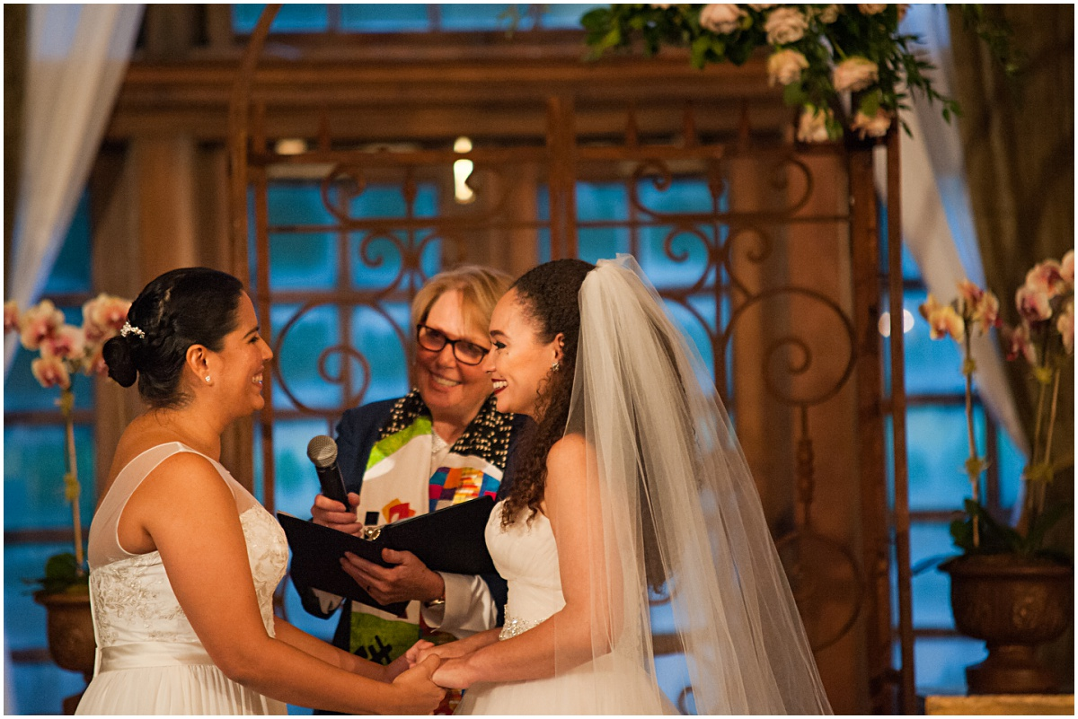 exchange of vows of same sex couple at the biltmore hotel