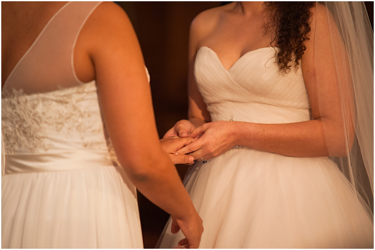 exchange of rings of same sex couple at the biltmore hotel