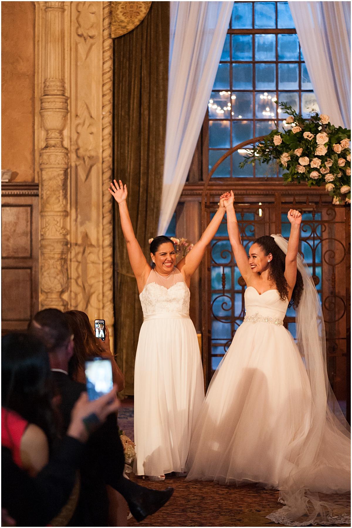 same sex couple celebrate their biltmore hotel wedding