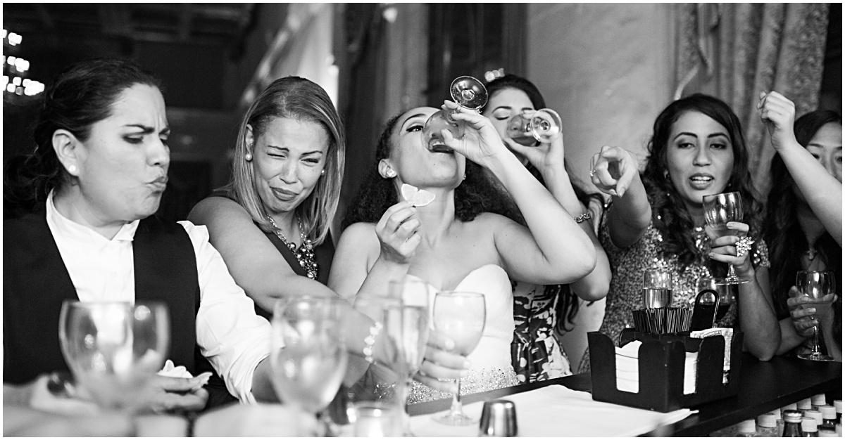 funny tequila bar shots at biltmore wedding reception