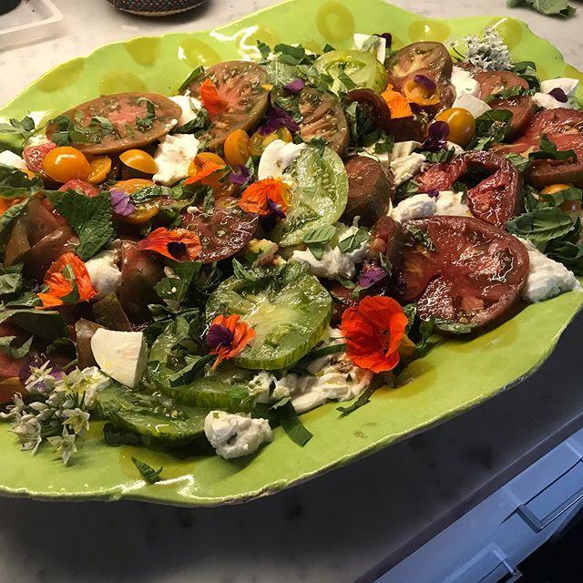 Tomato salad with mozzarella. Green Zebras, Pink San Francisco Paisley, Black Krim, Purple Cherokee. I love Summer tomatoes. #davistudio
