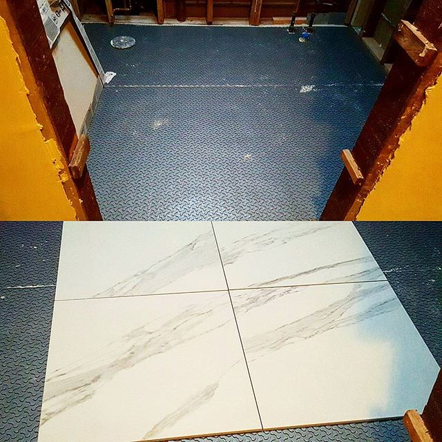 "Hall bathroom floor Prep today.  #Ardex #FlexBone underlayment #X5 medium nonsag thinset  24""x24"" Porcelain tile #freestandingtub #wallmountedsink #TheFlash Www.cuttingedgetilenj.com ""Quality You can afford"""