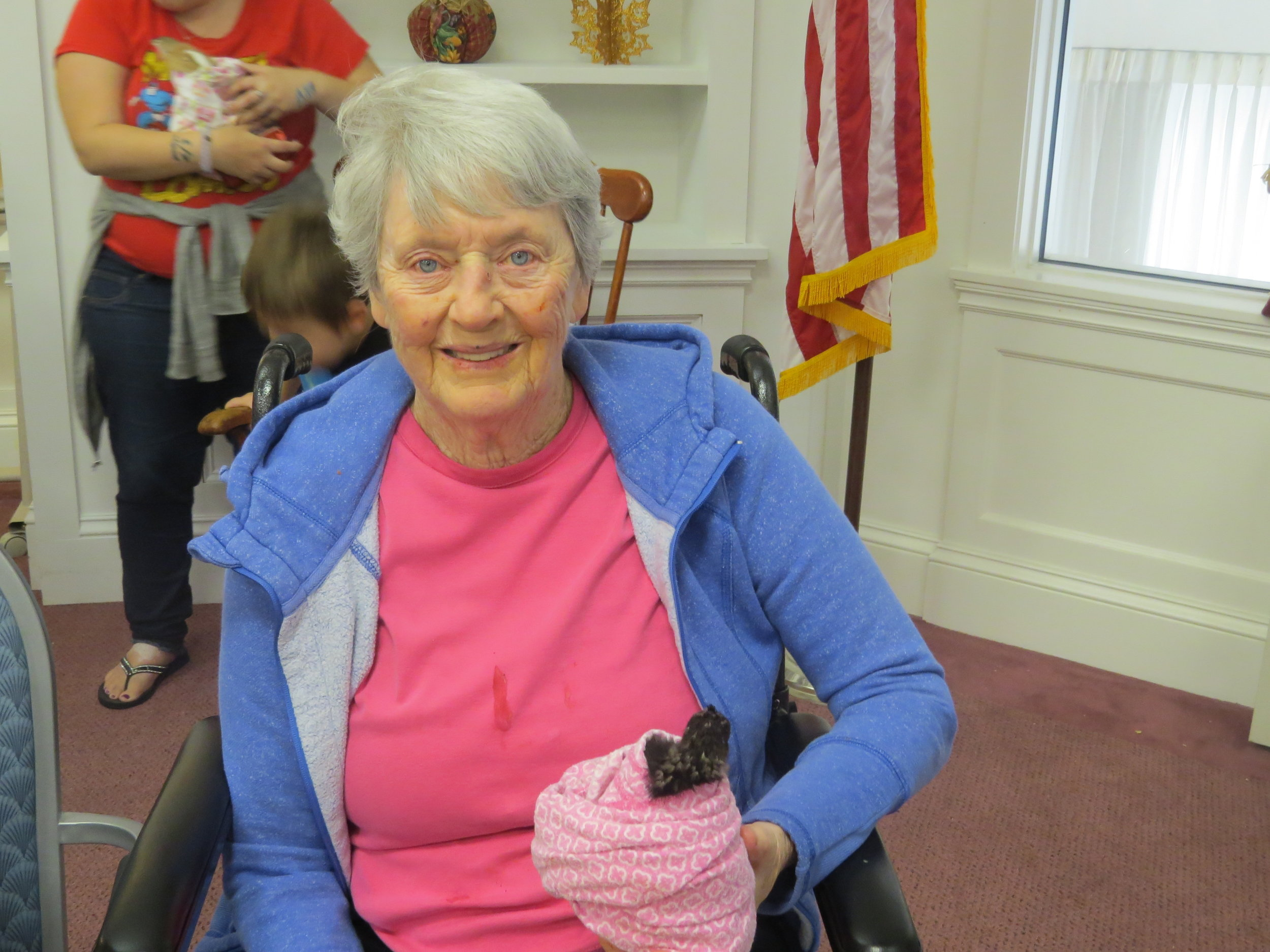 Jean Holmes and baby chick.JPG