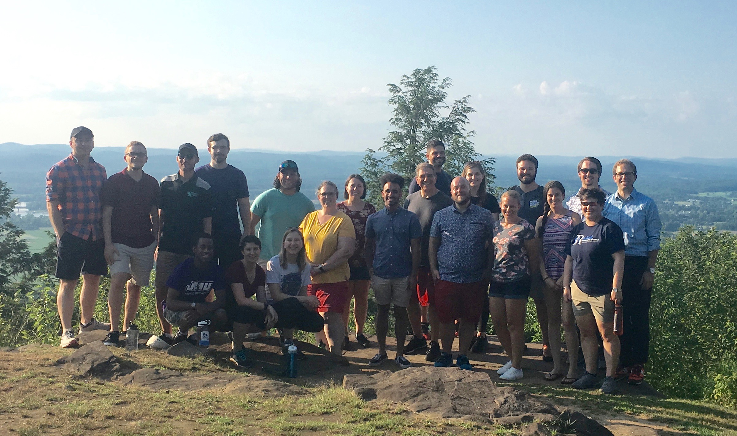 Conductors and some of the local musicians from the 2019 UMass Conducting Institute on top of Mt. Holyoke (J.A. Skinner State Park, Hadley, MA).