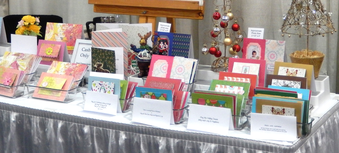 Display of the Present Cards at a Christmas trade show