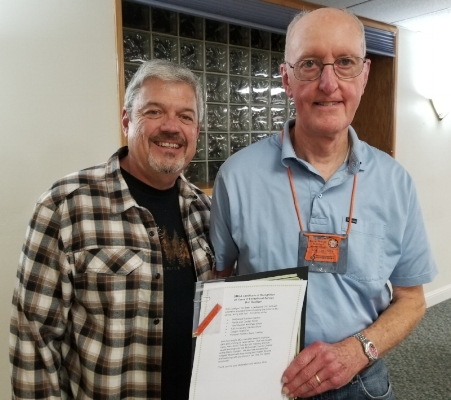 Bob Dueltgen receiving hIS certificate of recogntion for 20 years of exceptional service- congrATULATIONS BOB!!