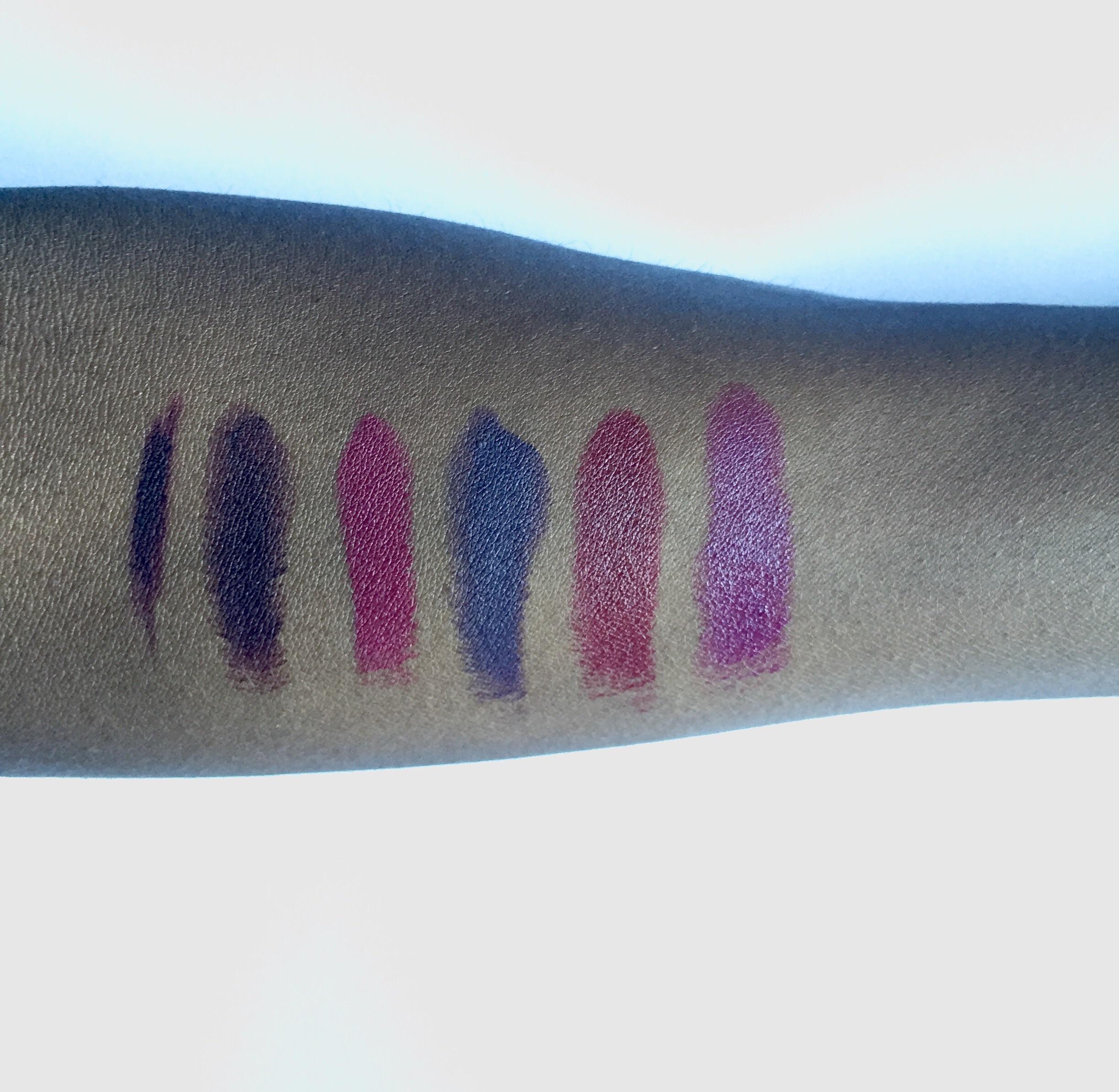 L to R: OCC Lip Pencil Dahlia, Kat Von D Homegirl, M.A.C D For Danger, M.A.C Smoked Purple, NARS Audacious Charlotte, M.A.C. Rebel