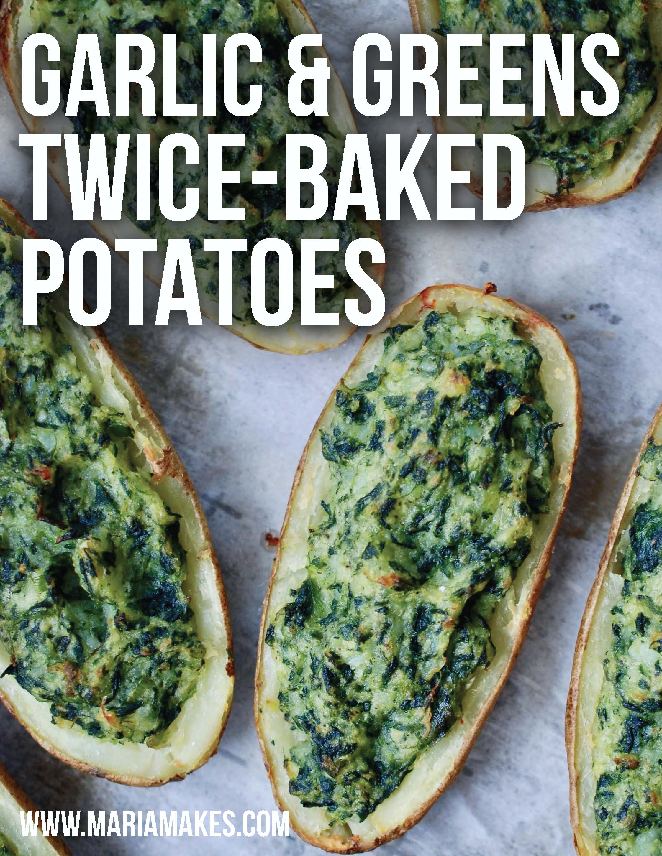 Garlic & Greens Twice Baked Potatoes – Maria Makes: The best of both worlds! Creamy mashed potatoes on the inside, crispy skin on the outside! These potatoes are super garlicky with an extra veggie boost from the spinach! #whole30 #paleo #grainfree #dairyfree #vegan