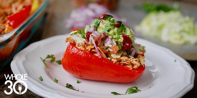Shredded Chicken Tacos in Pepper Boats