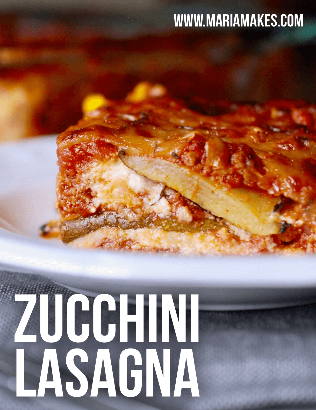 Zucchini Lasagna – Maria Makes: A recipe I've been making for YEARS and I'm finally posting it to the blog! Cheesy, ooey and gooey like traditional lasagna, but made just a tiny bit lighter and fresher with grilled zucchini in place of lasagna noodles.