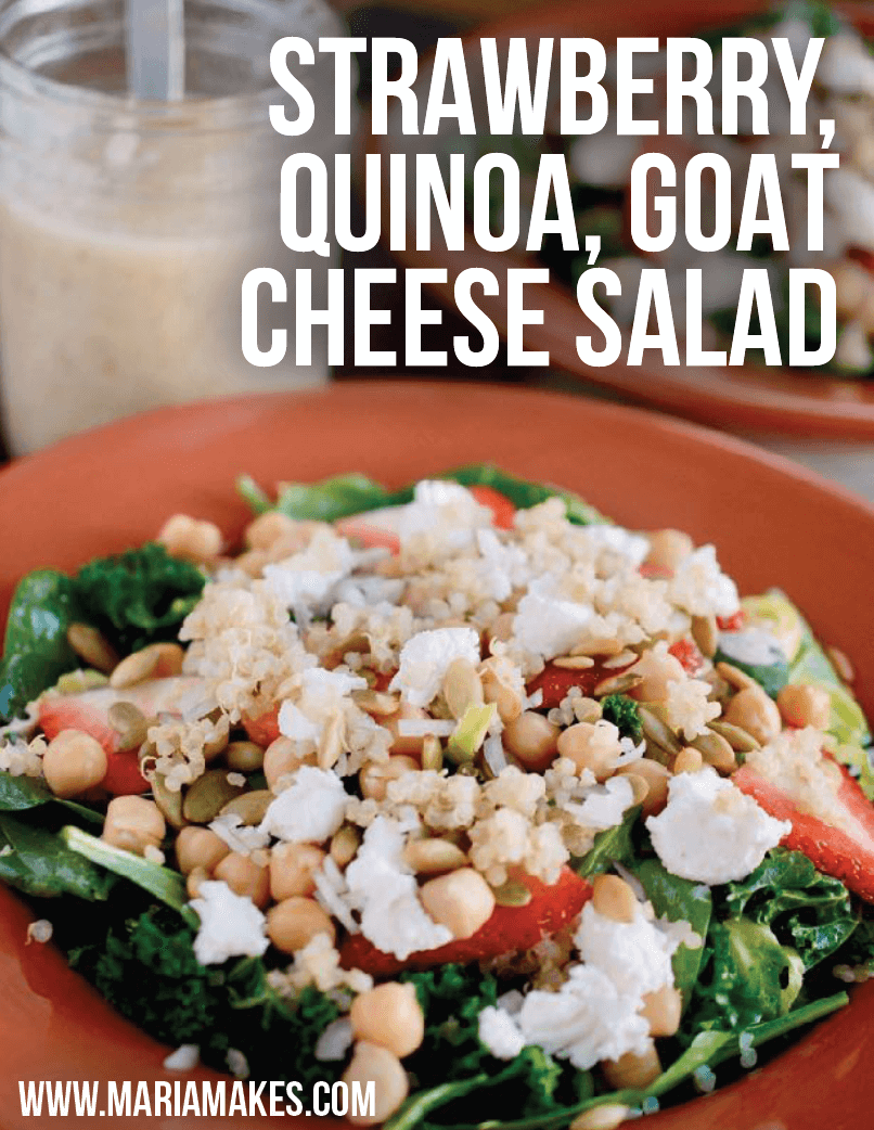 Strawberry, Quinoa, and Goat Cheese Salad   Make sure the quinoa has cooled before you add it to the bowls, add the goat cheese THEN chickpeas and pepitas so it doesn't stick to your lid, and you might consider adding the strawberries right before eating!