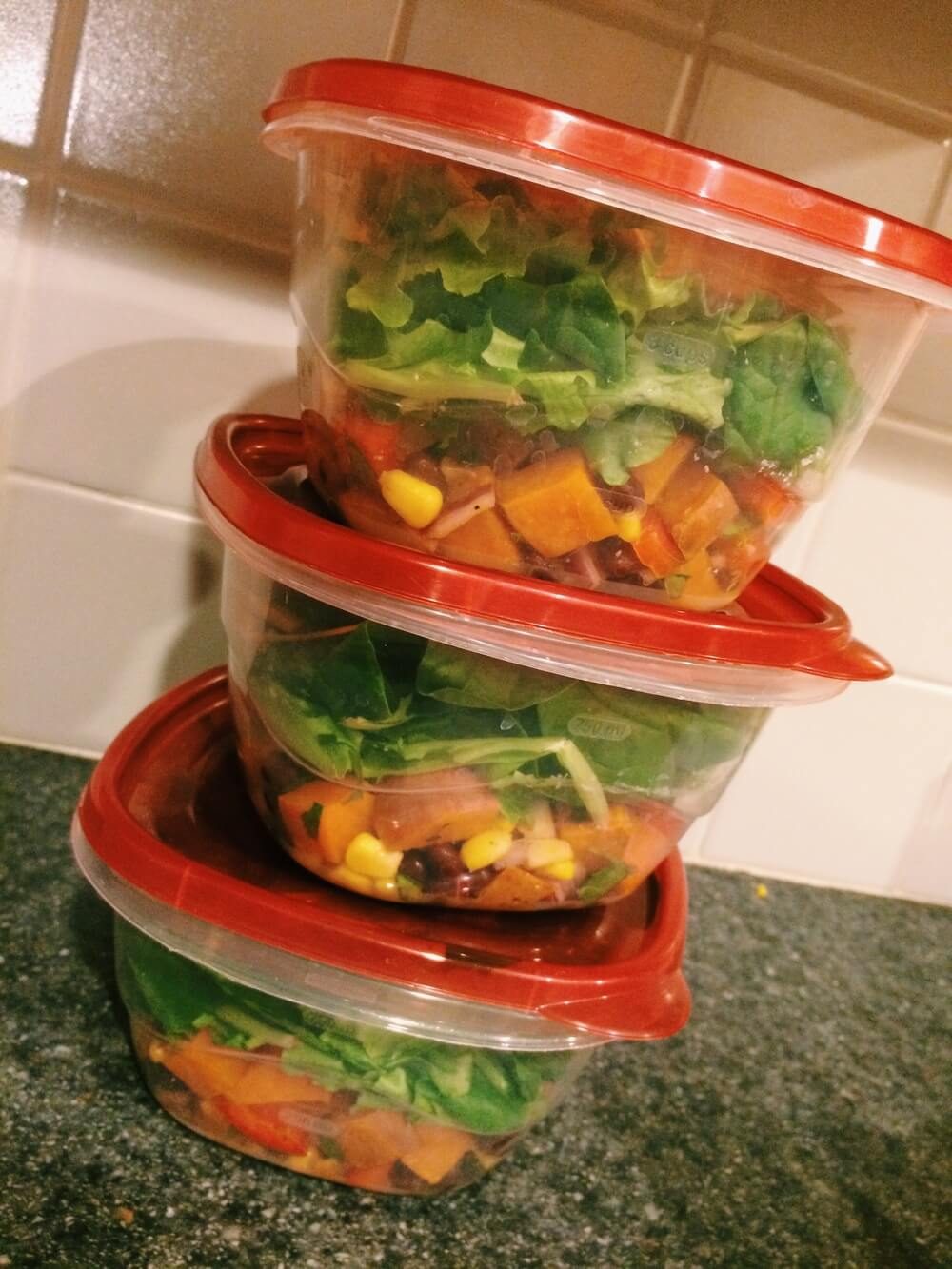 Southwestern Sweet Potato Salad   An oldie but a goodie! Put the sweet potato salad on the bottom so the dressing doesn't make the greens soggy!