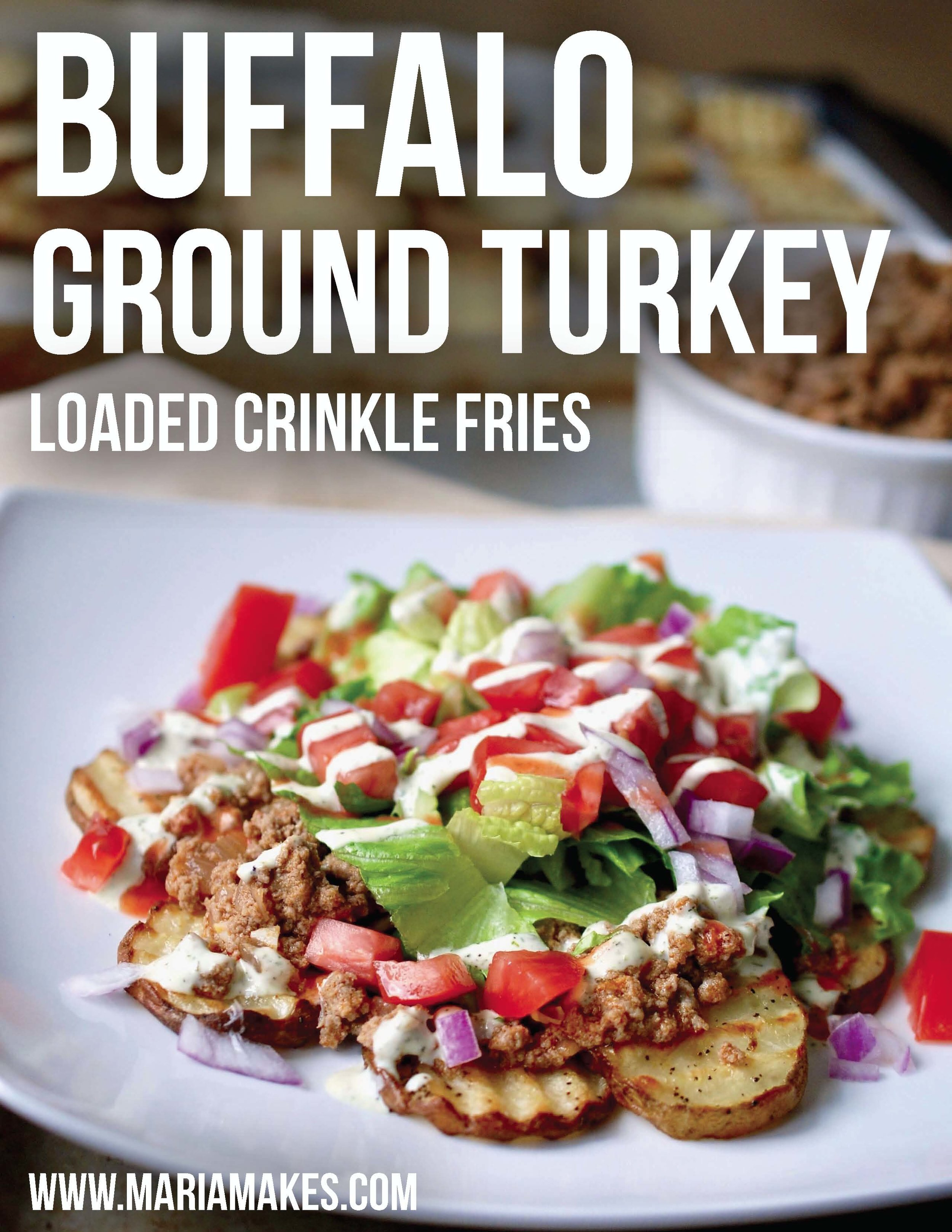 Buffalo Ground Turkey Loaded Crinkle Fries – Super easy buffalo ground turkey served over crispy oven fries with all the fixin's! Don't forget the Red Hot and ranch!. #whole30 #paleo #buffalo