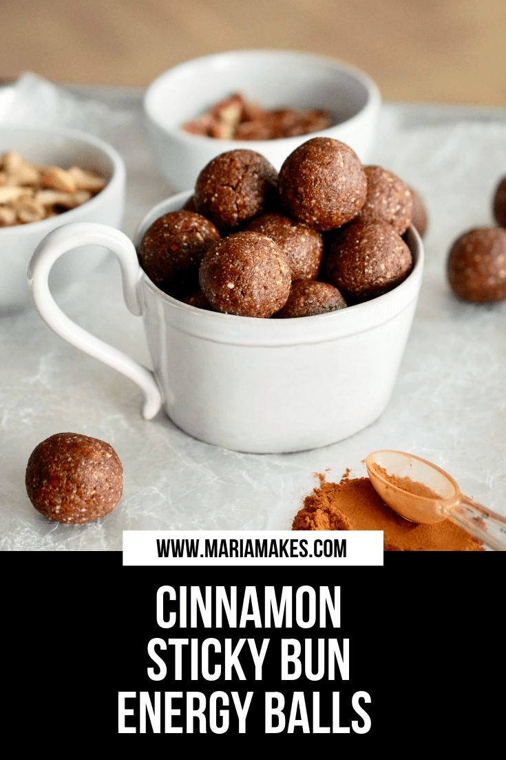Cinnamon Sticky Bun Energy Balls – Maria Makes: All the sticky cinnamon sugar goodness you crave, made with nutritious and unprocessed ingredients! Energy balls made with cashews, almond flour, pecans, dates, cinnamon, salt, vanilla extract, and water. Perfect snack for all of your outdoor adventures: hiking, kayaking, camping!