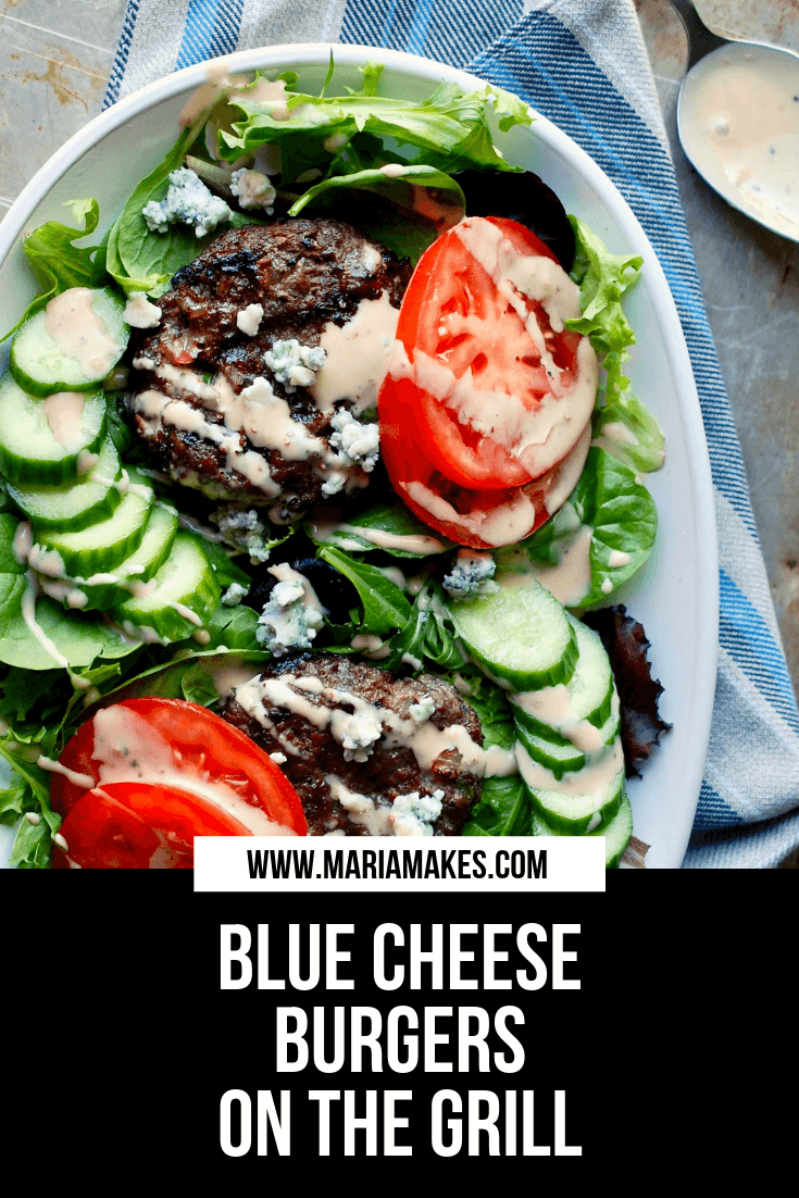 Blue CHeese Burgers on the Grill – Maria Makes: The burgers are juicy and FLAVORFUL. Loaded with blue cheese and caramelized onions mixed right into the meat, they're perfect for your next summer BBQ (or any ol' Tuesday night).