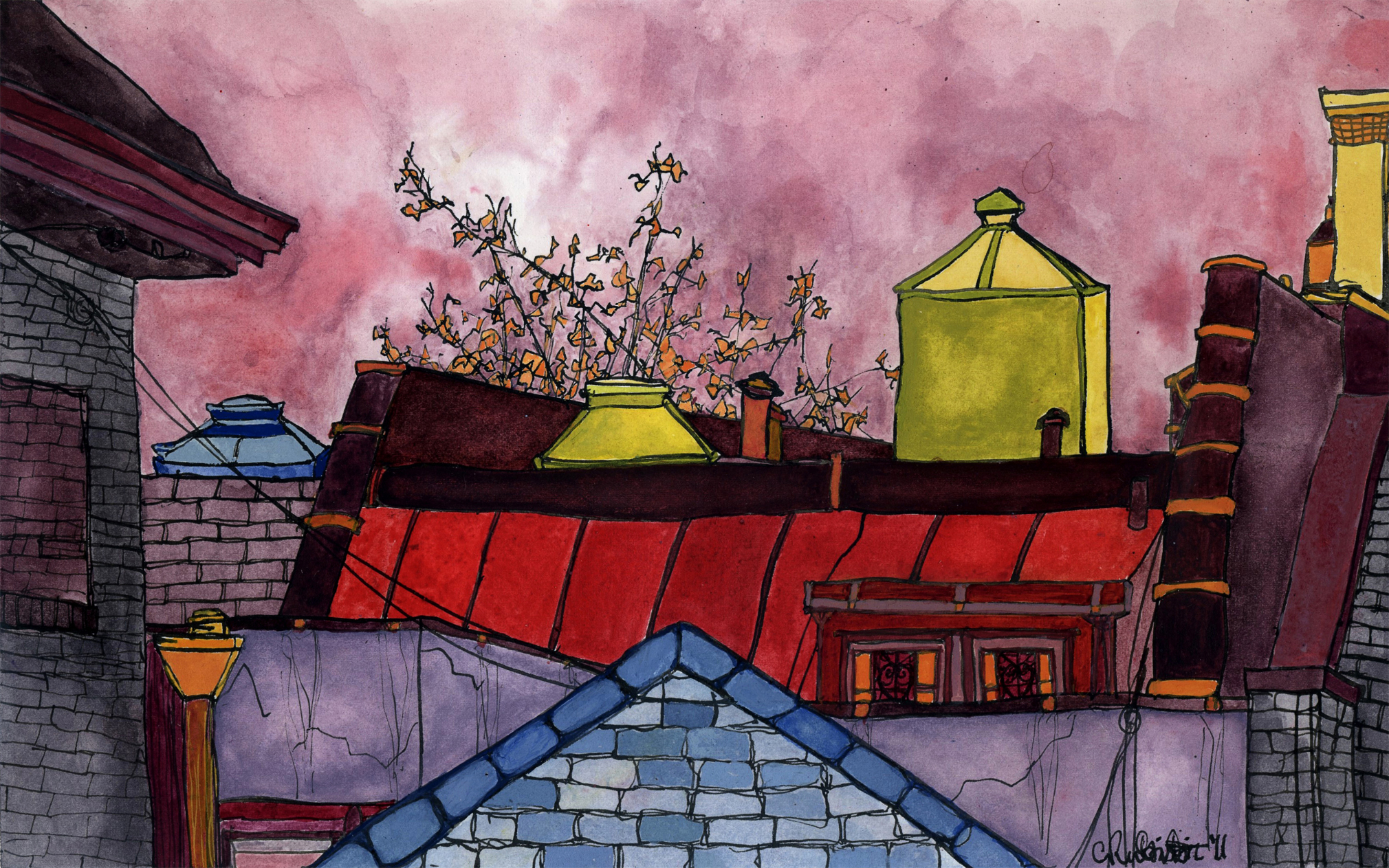 """Rooftop Cluster, Rose , 2011 gouache and ink on paper 7 x 11"""""""