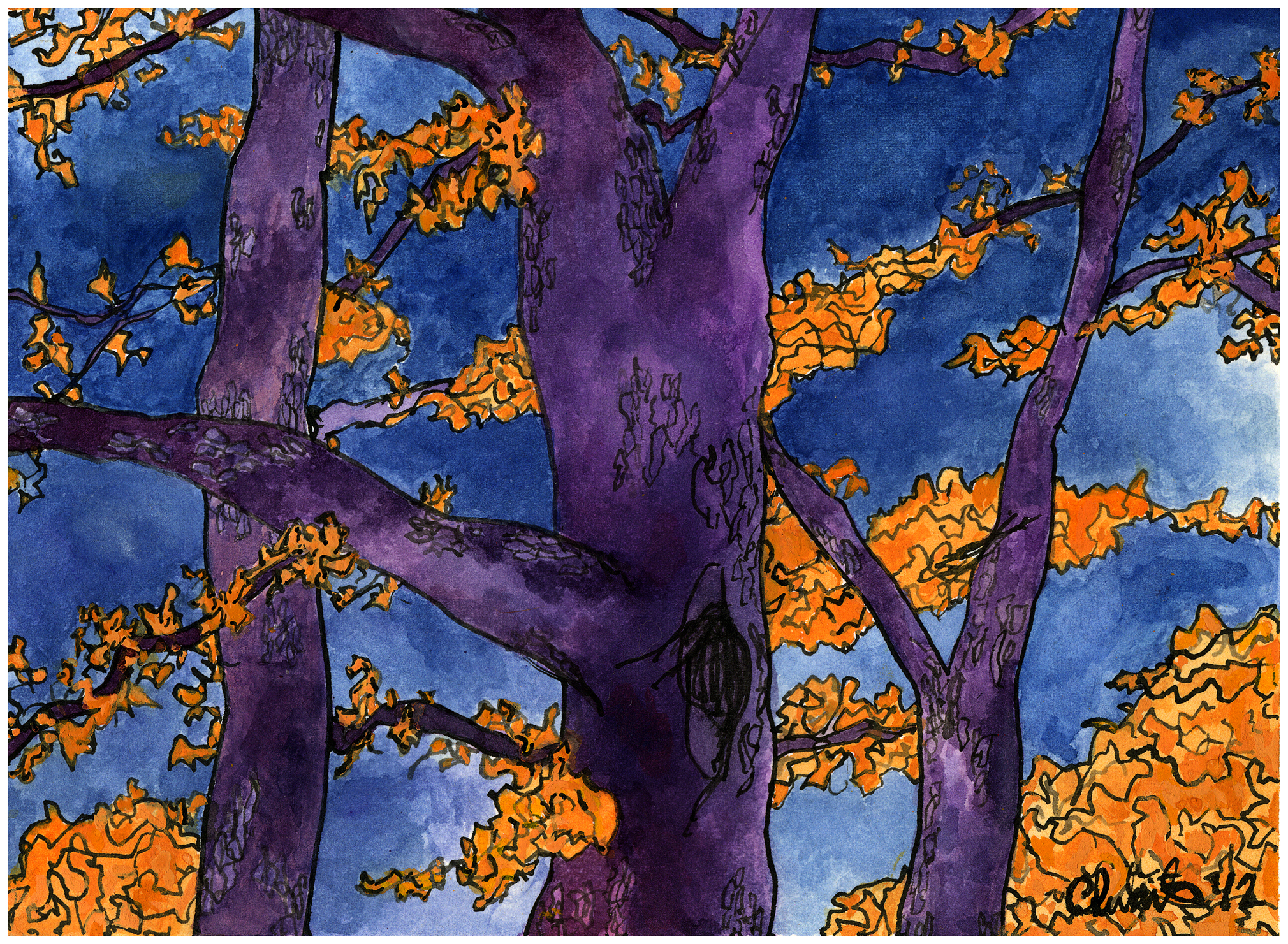"""Trees for Ann , 2012 gouache and ink on paper 6 x 8"""""""