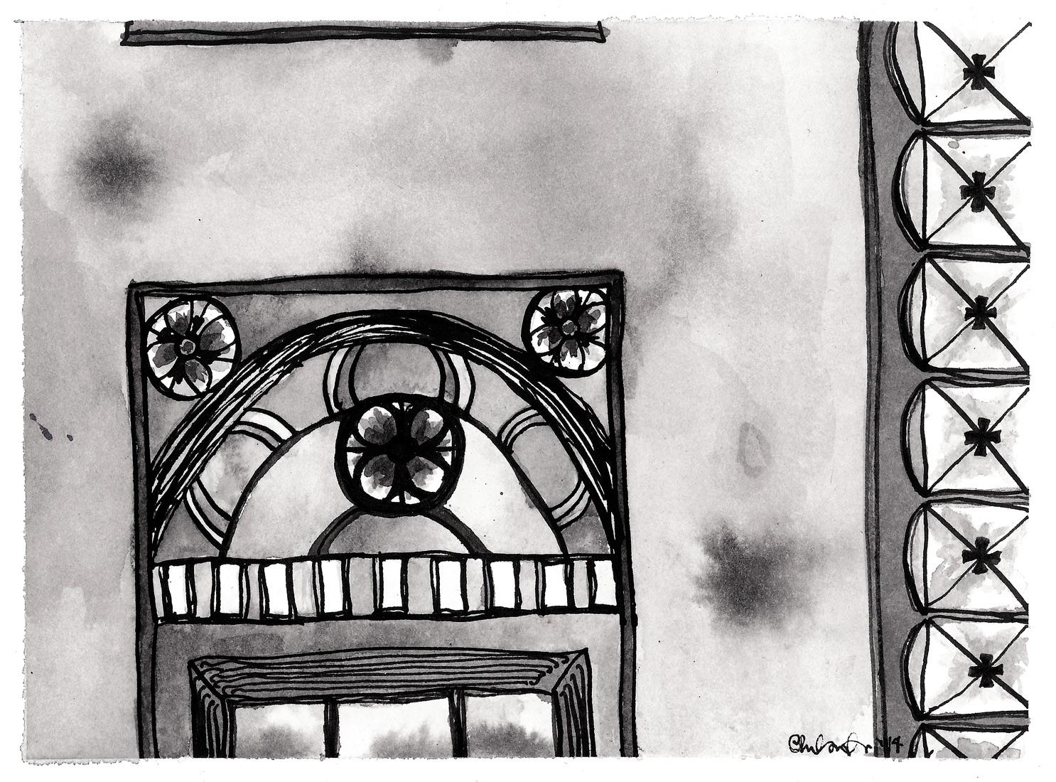"Segment I , 2014 ink on paper 6 x 8"""