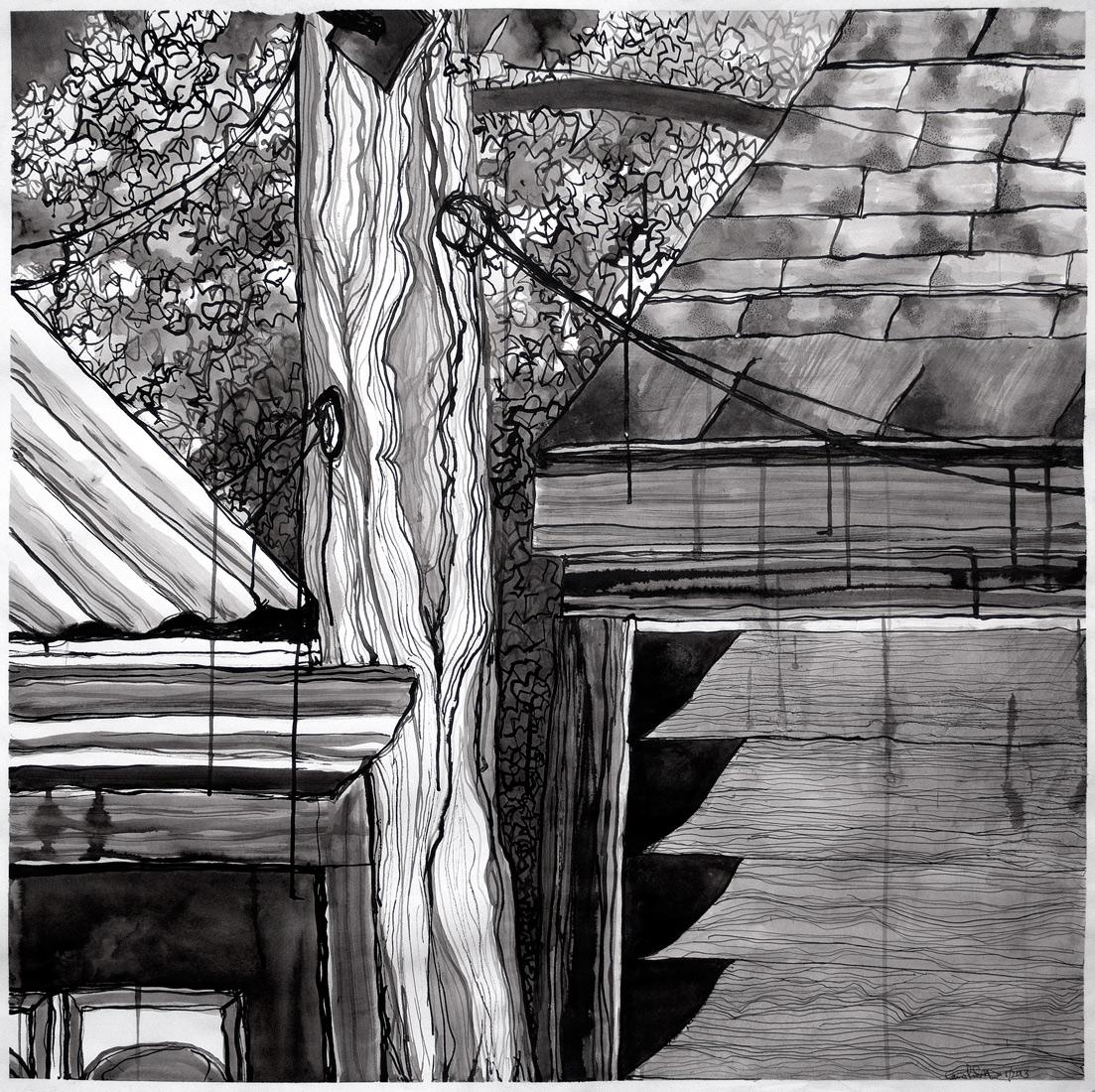 "Late Summer Sliver,  2013 ink on paper 33 x 34"""