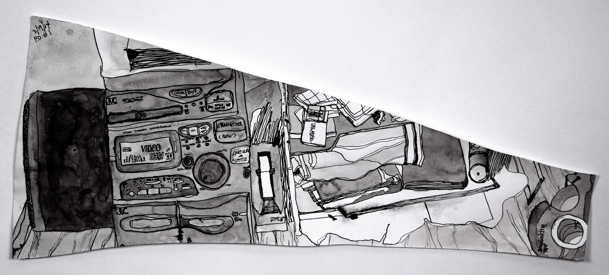 P.O. #1 (Post Op) , 2014 ink on paper 10.5 x 24""