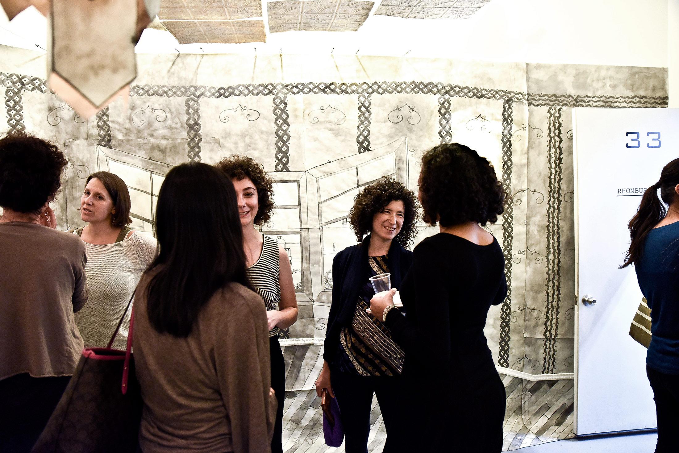 Artist Rachael Gorchov at  Retrofit  opening.
