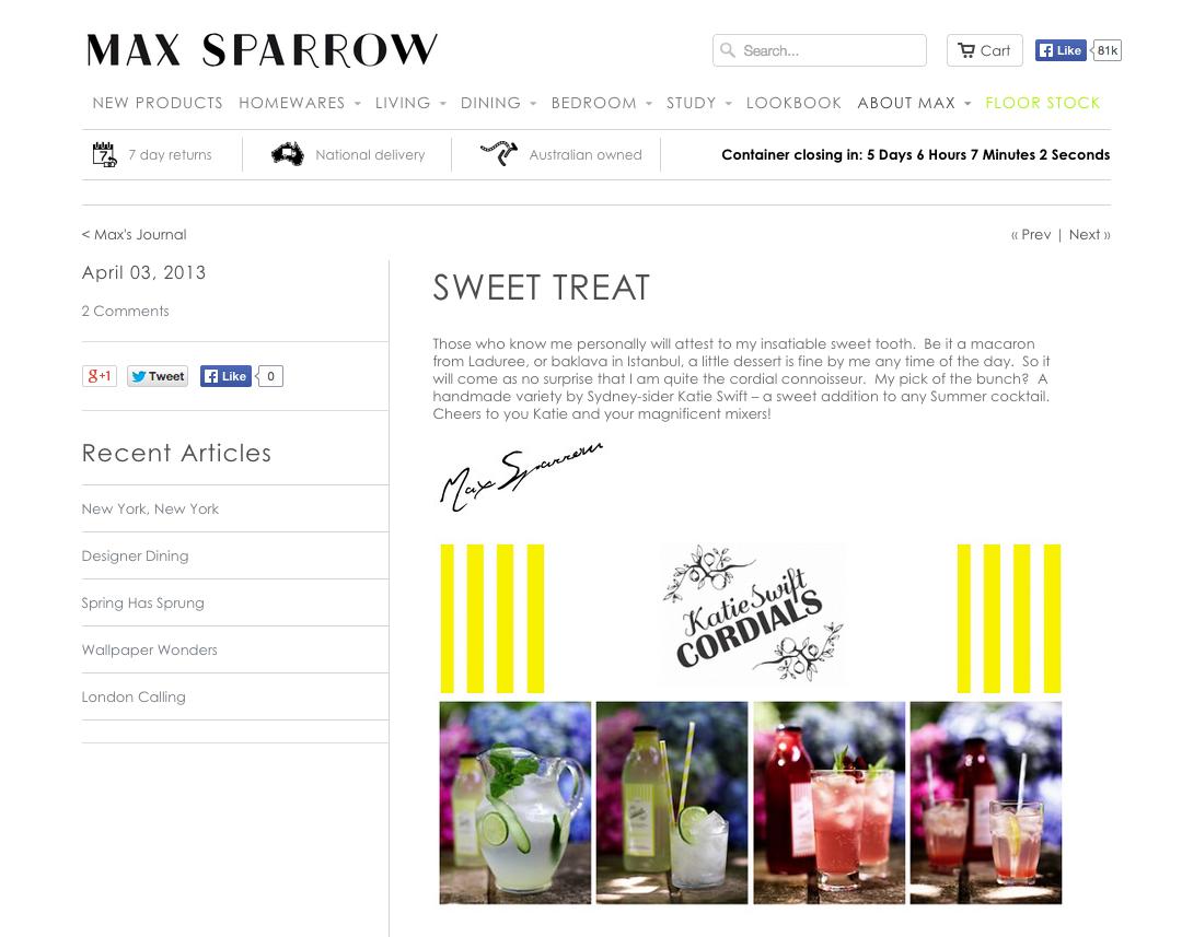 Max Sparrow 'Sweet Treat'