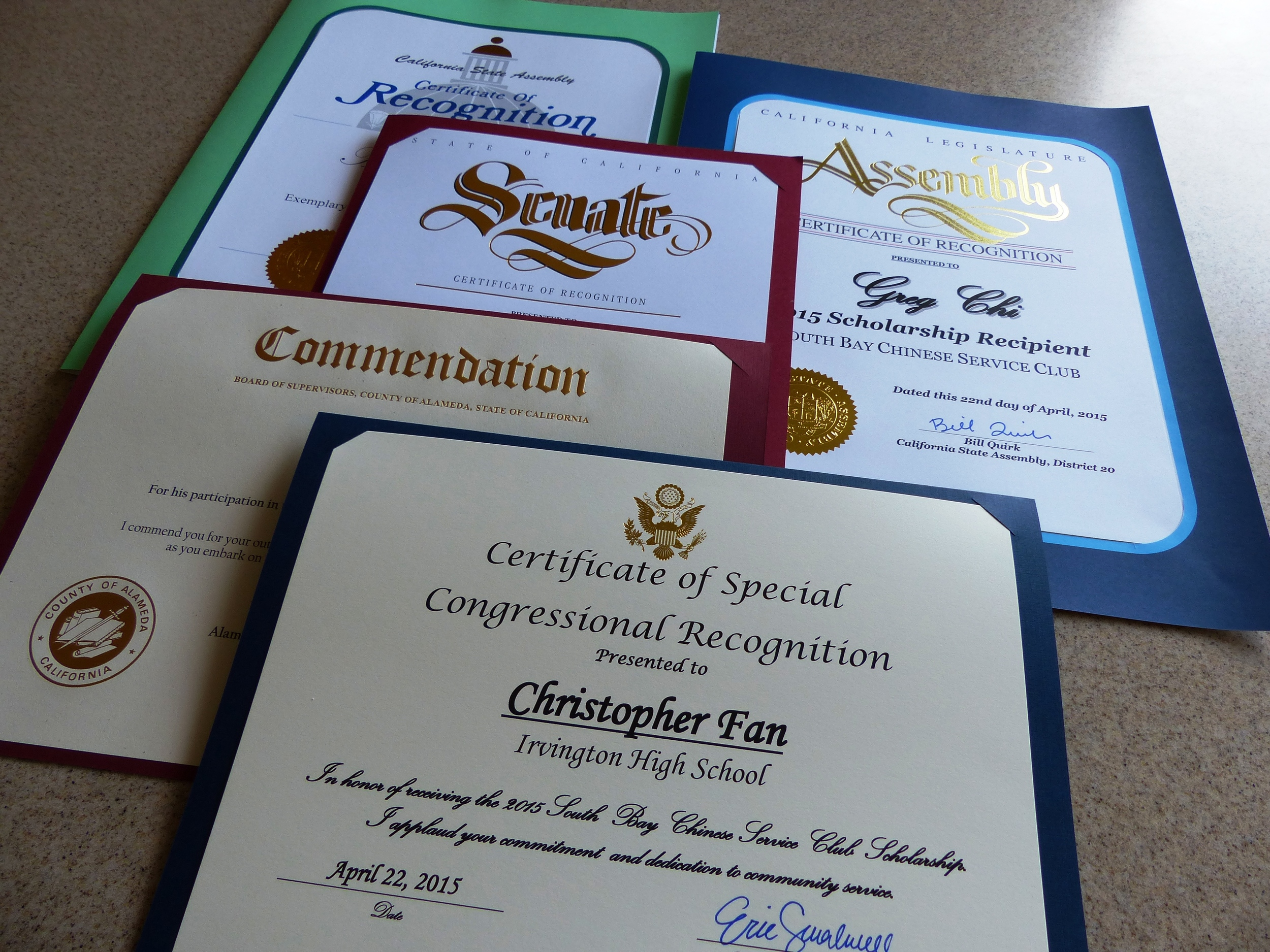 Scholarship award recipients also receive recognition from members of U.S. Congress, State Senate and Assembly, and County Supervisor.
