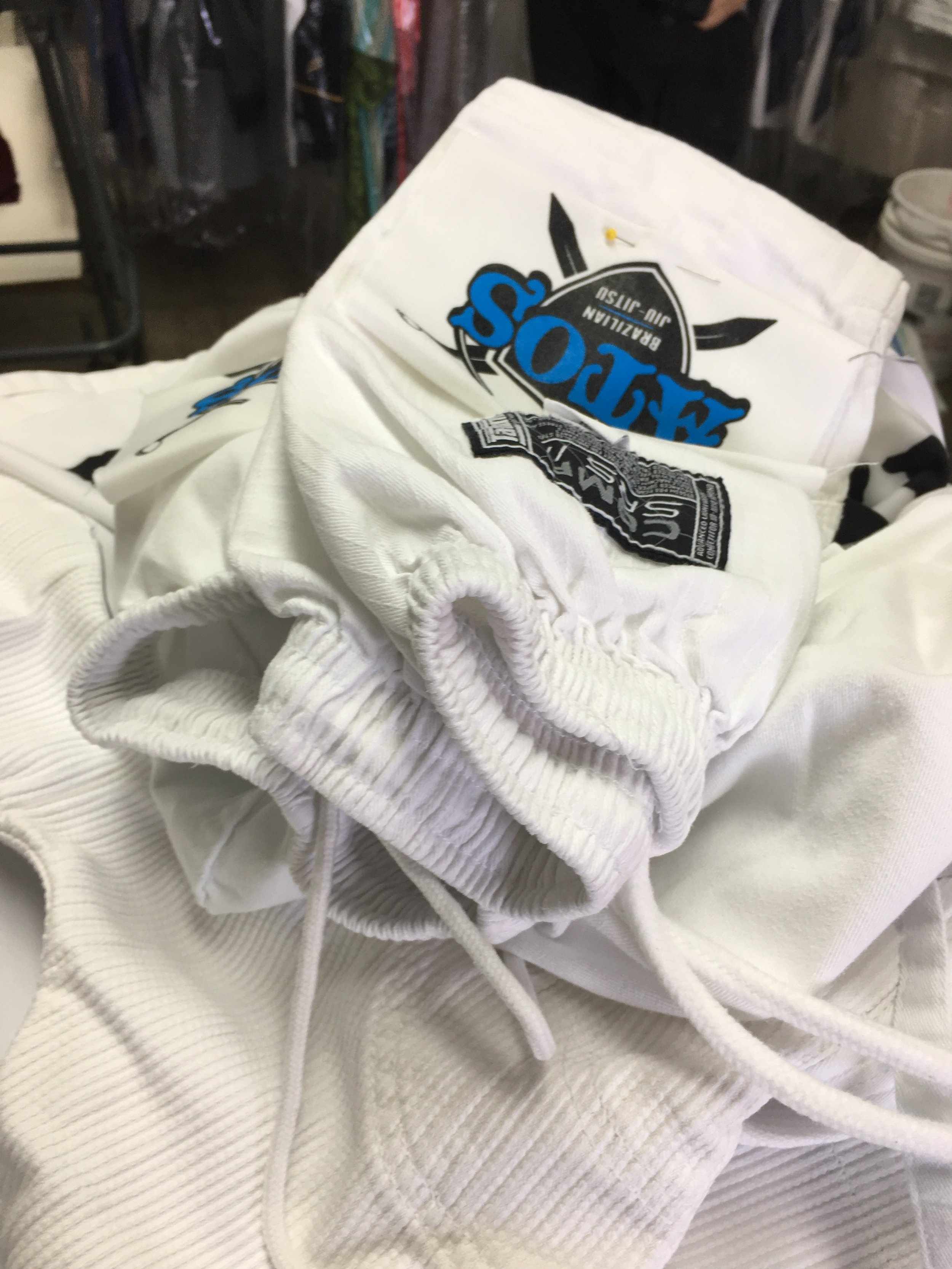 Getting the kids Gi's patched up. I appreciate all the customers and companies that are supportive. Trying to make sure to do the same and promote and support them too.