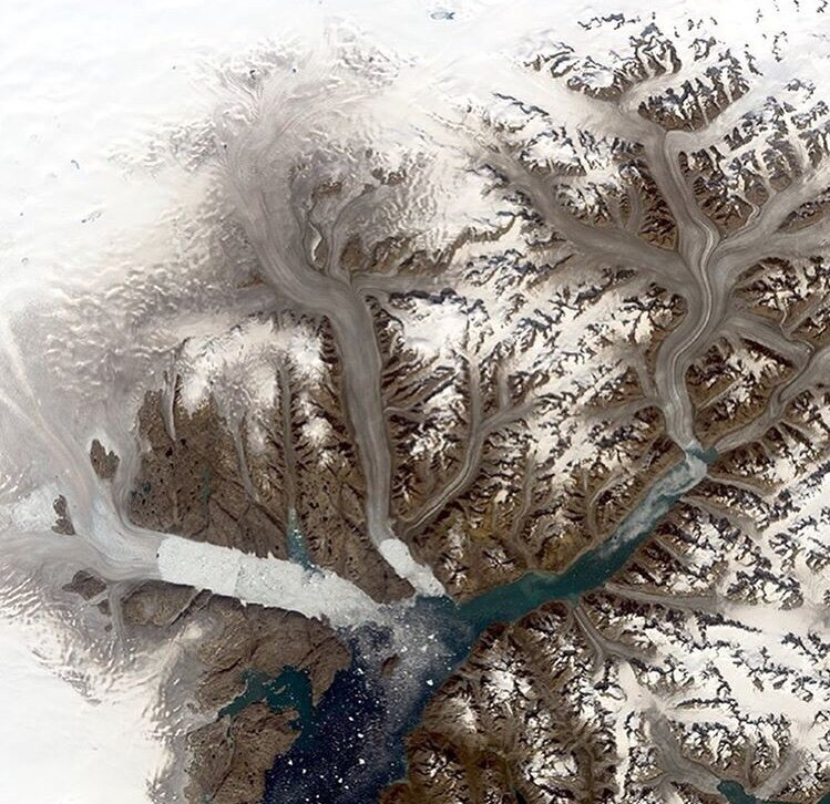 Sad to see this picture from NASA. Glacier changes in Greenland.  Humans need to stop fighting and wake up to the bigger problem at hand.