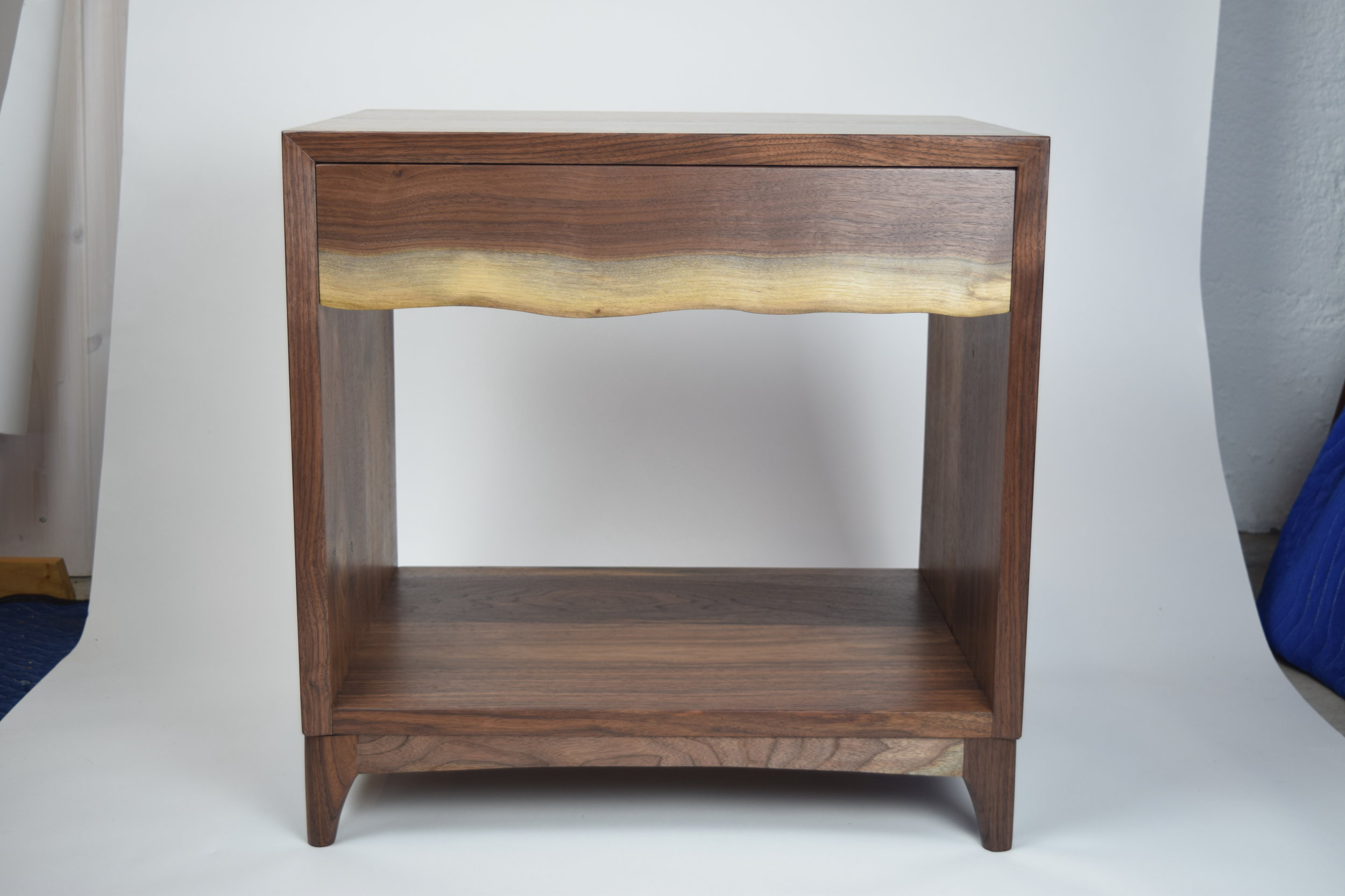 Mid-Century ModernNightstand - Oregon Black Walnut, Live-edge drawer