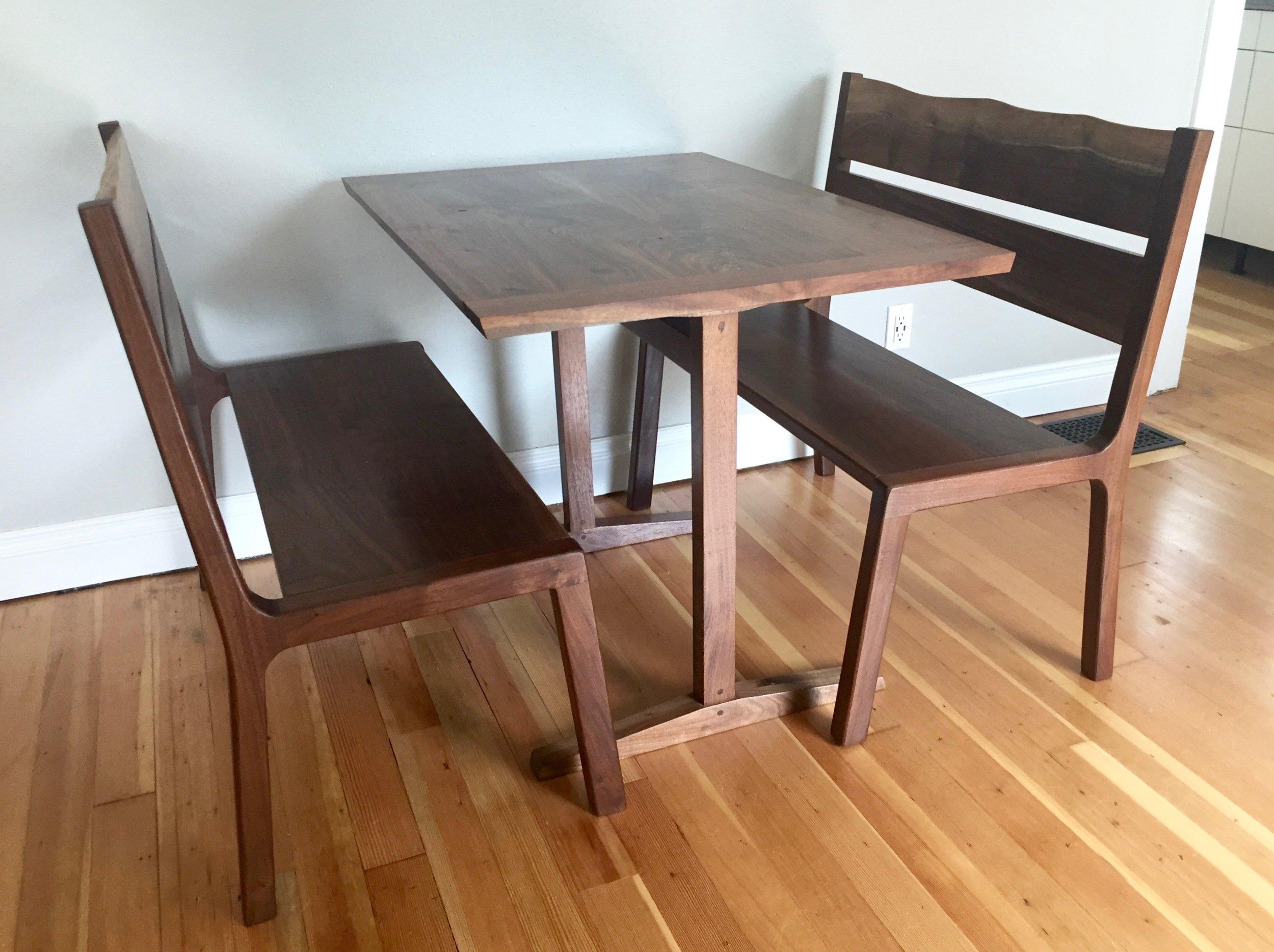 Breakfast Table and Bench Set - Oregon Black Walnut