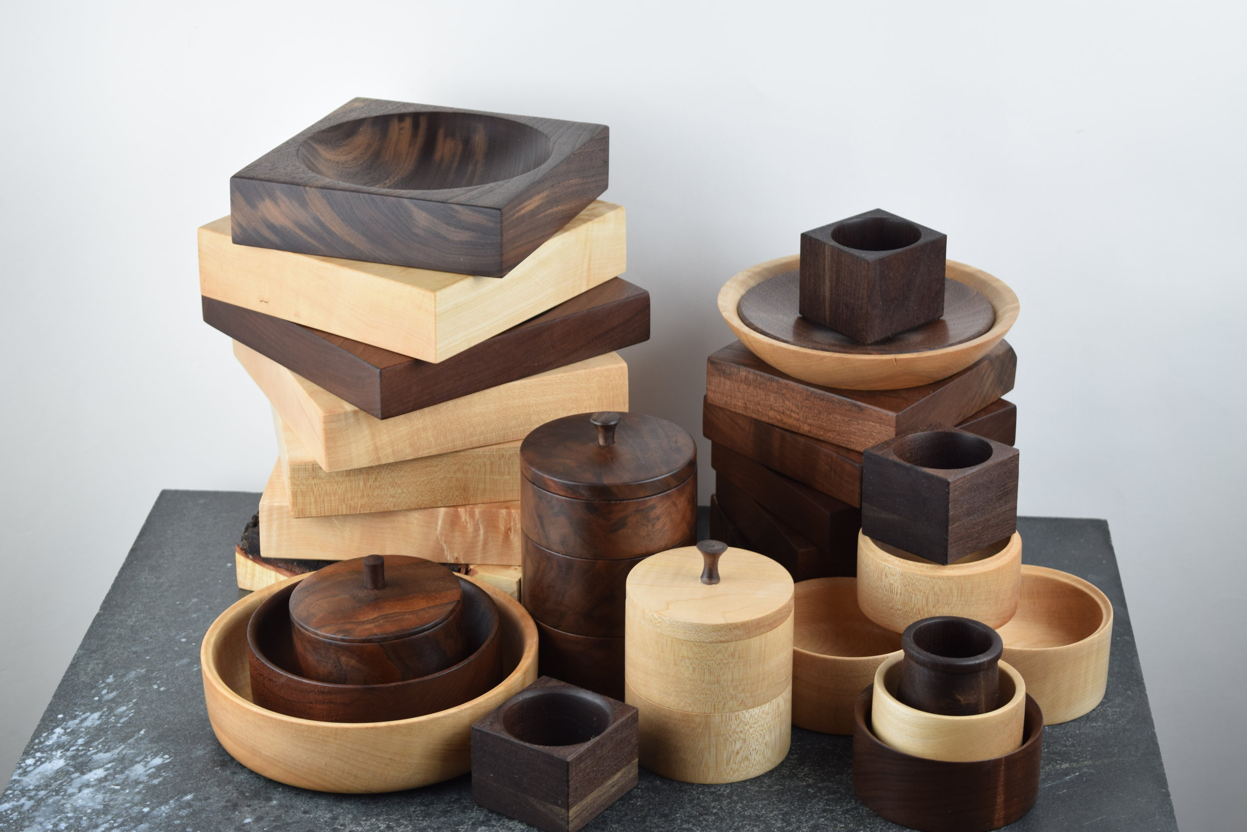 Turned Bowls,Salt Cellars and Accessories - Native Pacific Northwest Hardwoods