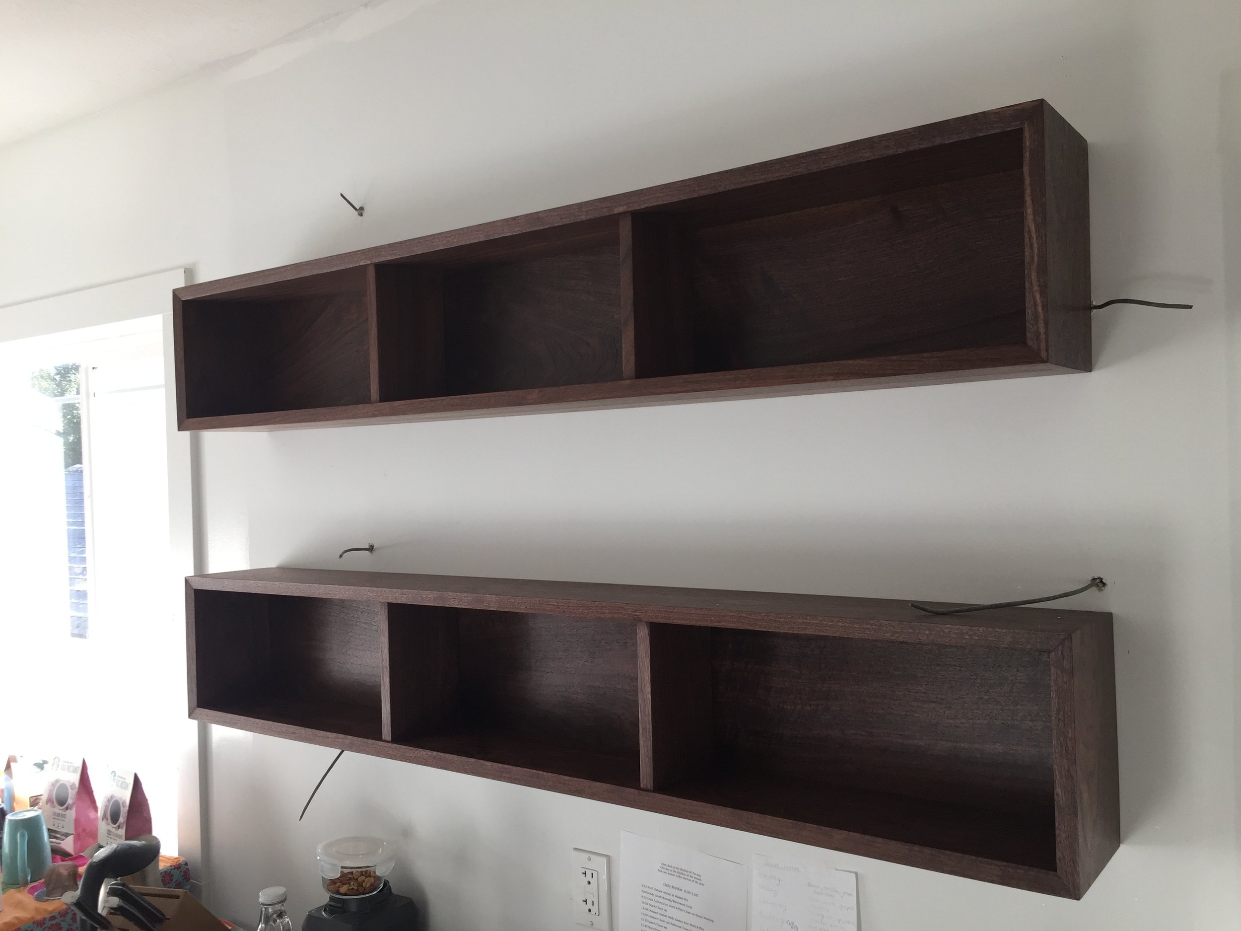 Walnut kitchen shelves, September '17