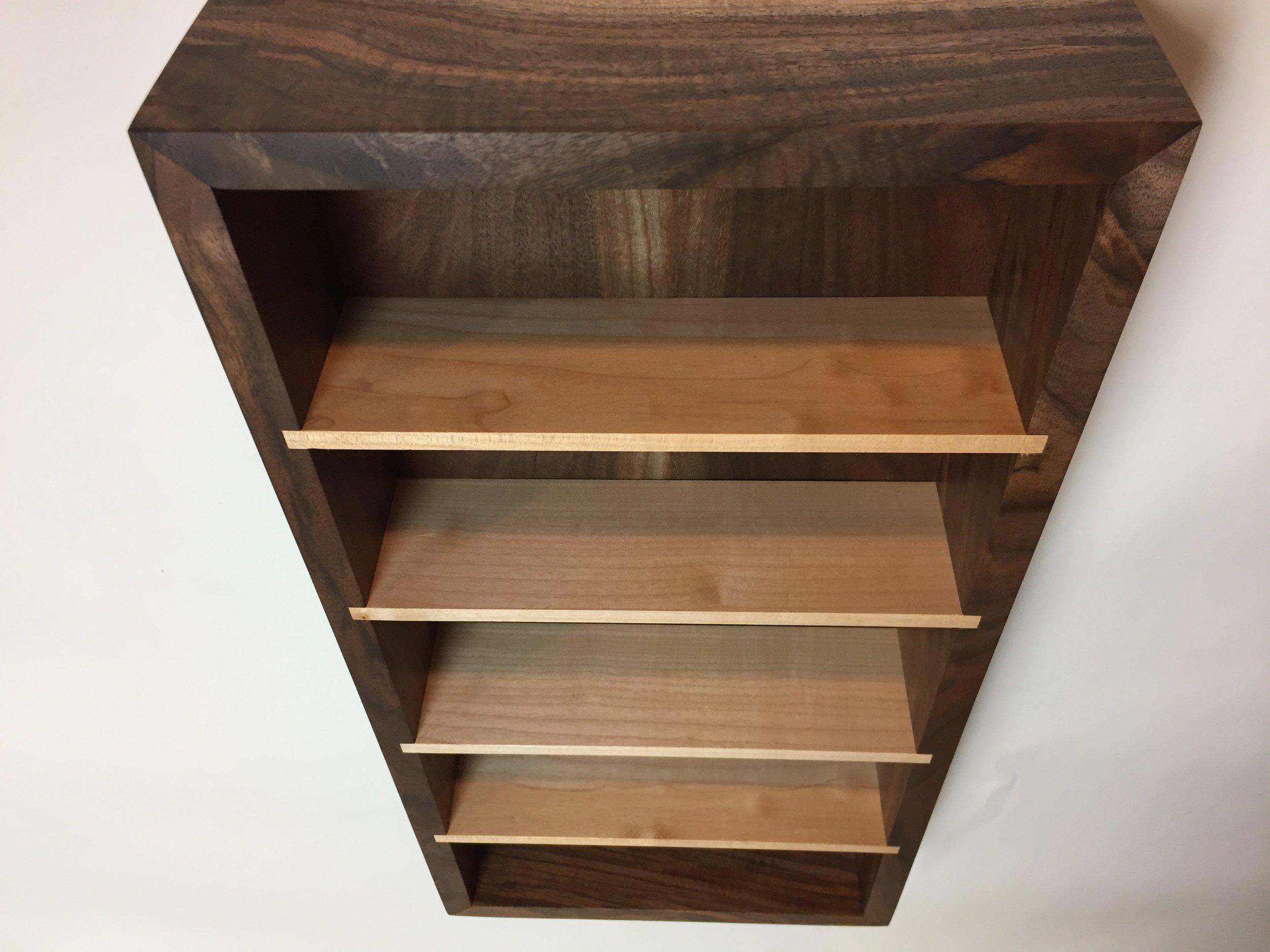 Small display shelf, Oregon black walnut, Western maple shelves.September '17