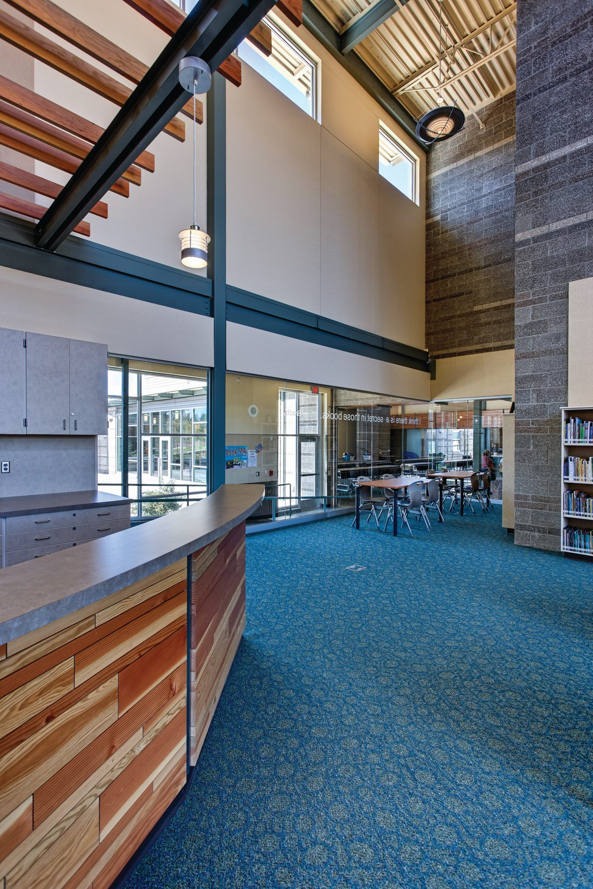 Sherwood Elementary and Middle School   Rachel Waldron was lead interior designer on this project with a team of approximately 6 architects, to include the project manager. Finishes, Floor finish plan, and the Stair railing design are they key contributions Rachel had toward the project.