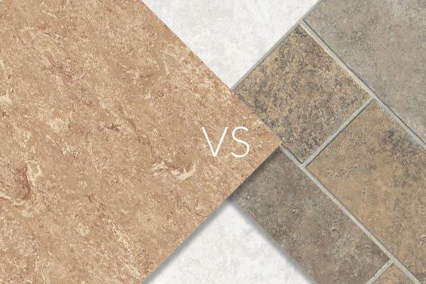 Linoleum (left) vs. Sheet vinyl (right)