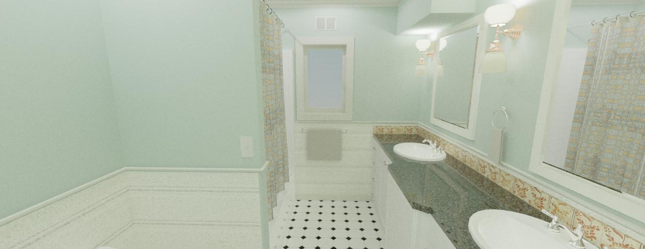 The downstairs bath ended up changing pretty tremendously from this go! Sadly, the finishes I applied didn't look nearly as good in the rendering as they did as separate photos!