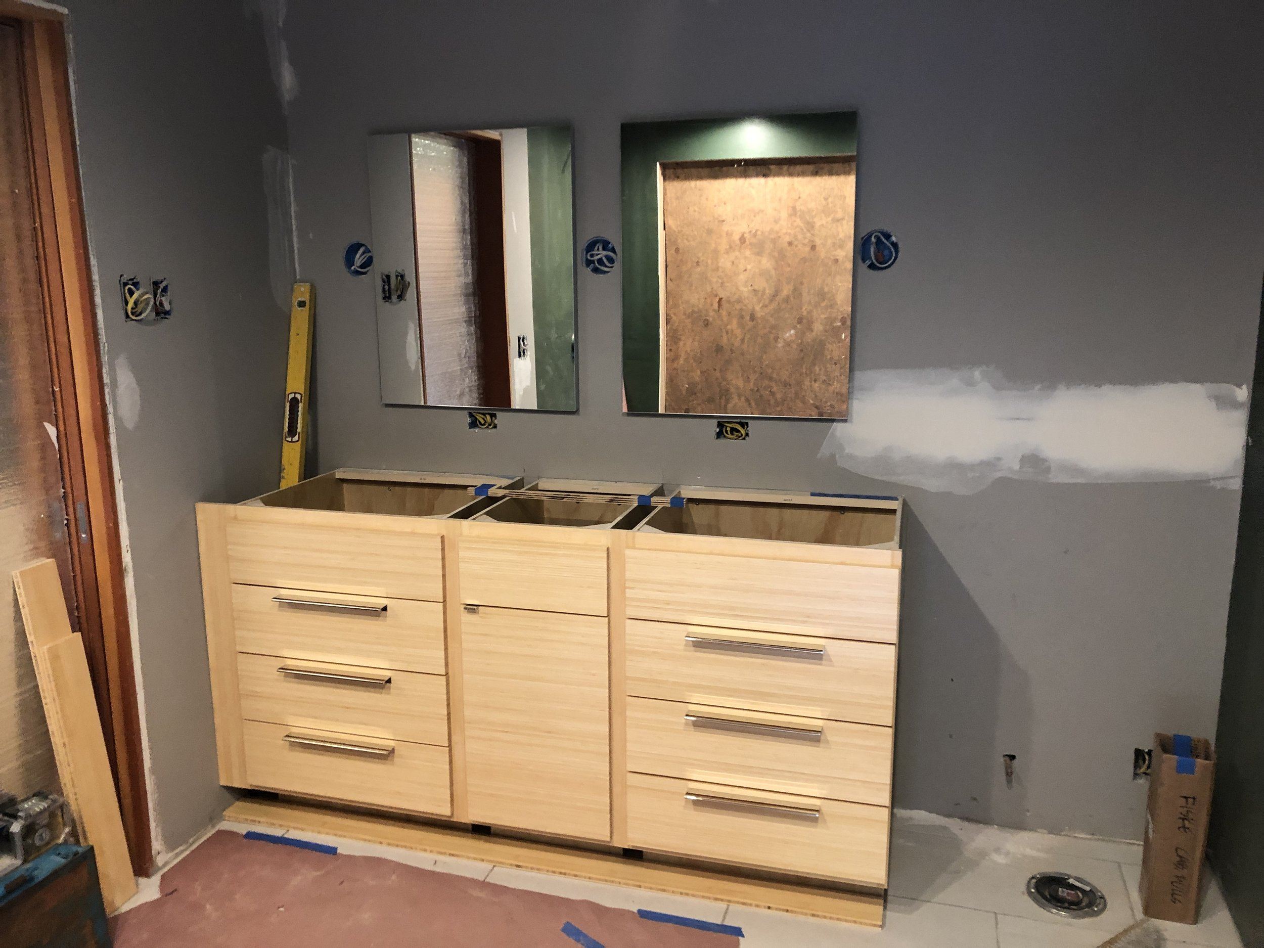 Bamboo is alive and well, and look how much light and warmth it brings to what will be a stunning master bathroom!